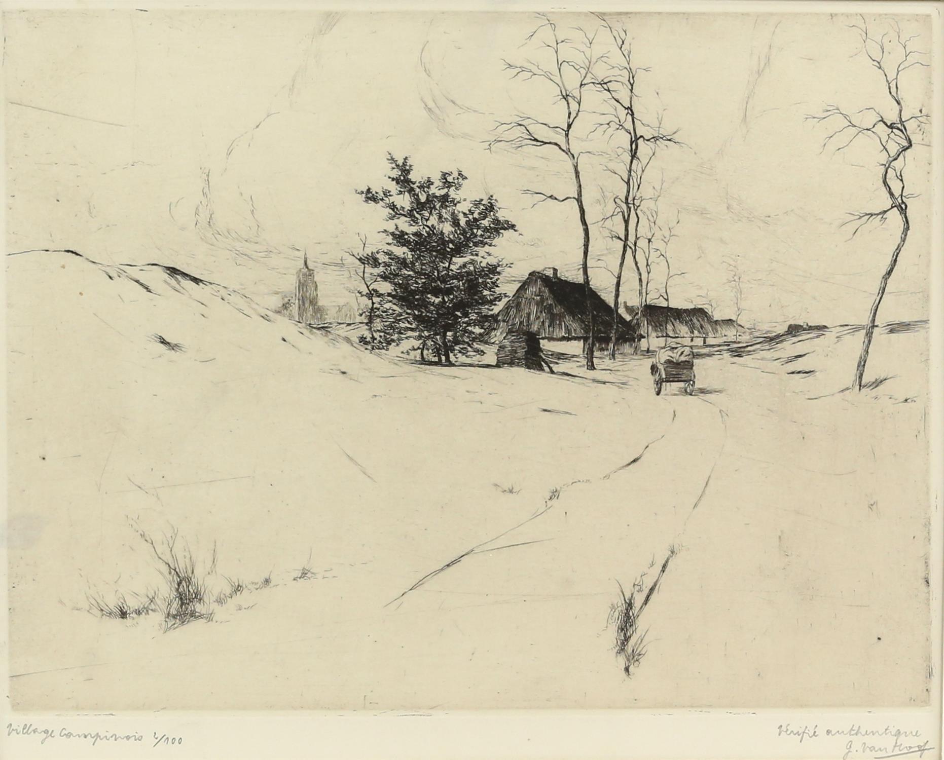 Jos van Hoof (Belgian, 1889-1937). 'Village Campinois', limited edition etching, signed,