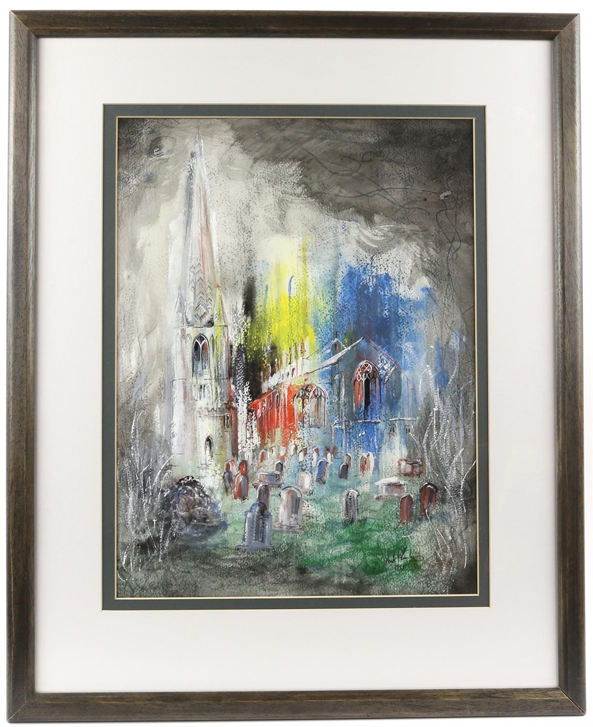 Nick Plumley (British, b. 1940), church yard scene, signed and dated 1995, gouache, 44cm x 33cm, - Image 2 of 4
