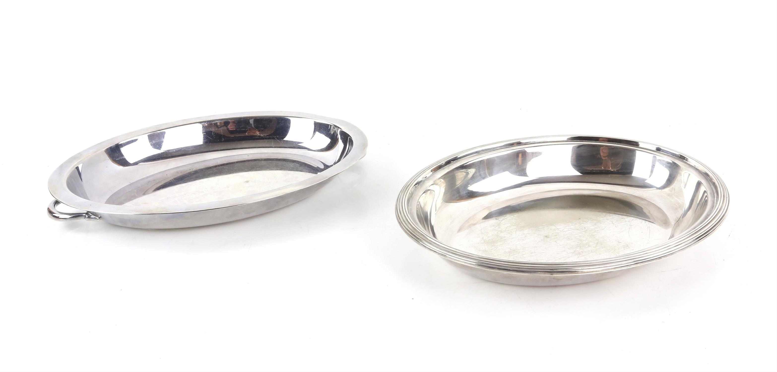 Silver plated twin-handled tray with beaded border, 77cm wide, pair of bottle holders, - Image 5 of 5