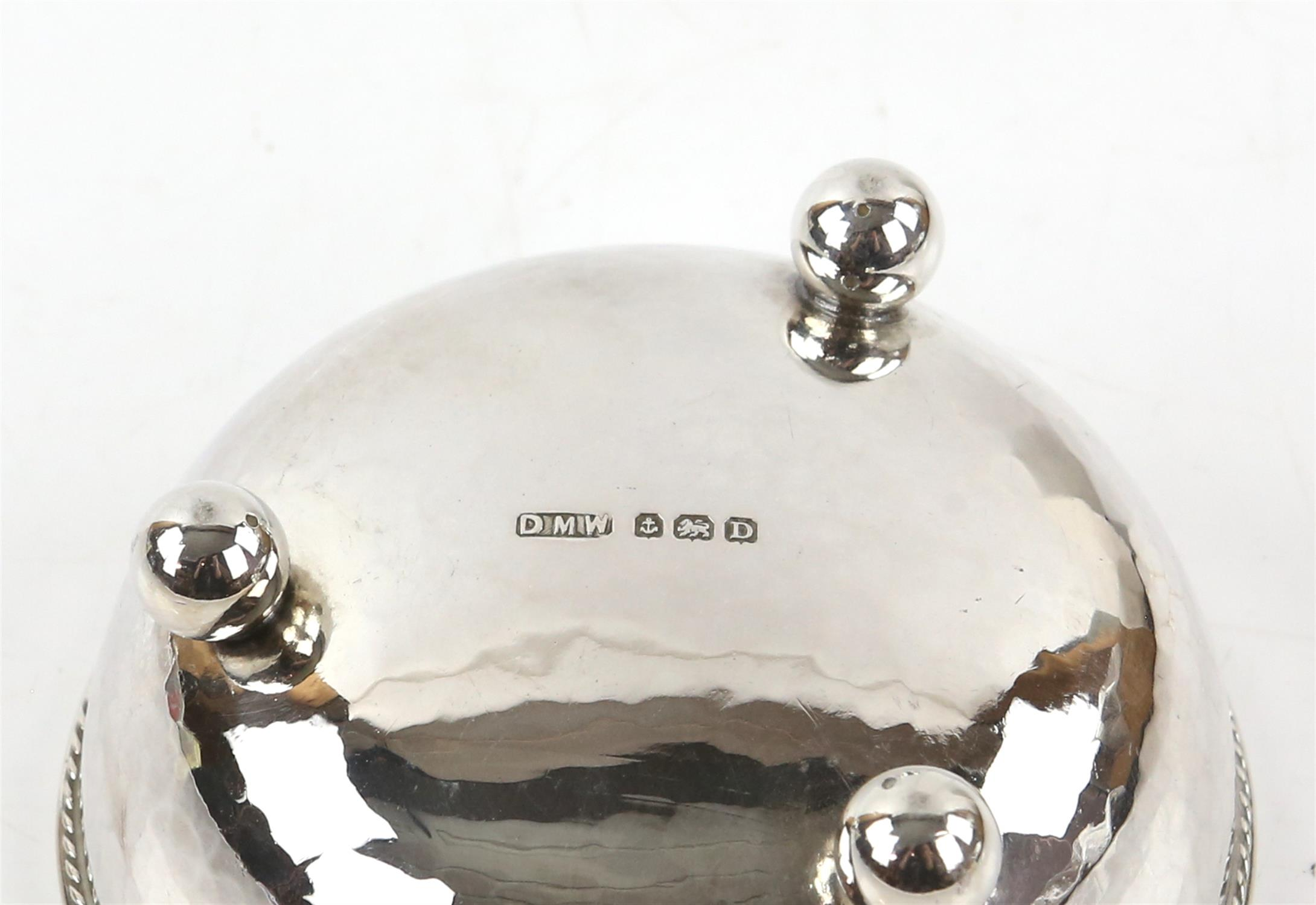 Pair of George V silver bonbon dishes with gadrooned borders, each on three ball feet, - Image 3 of 4