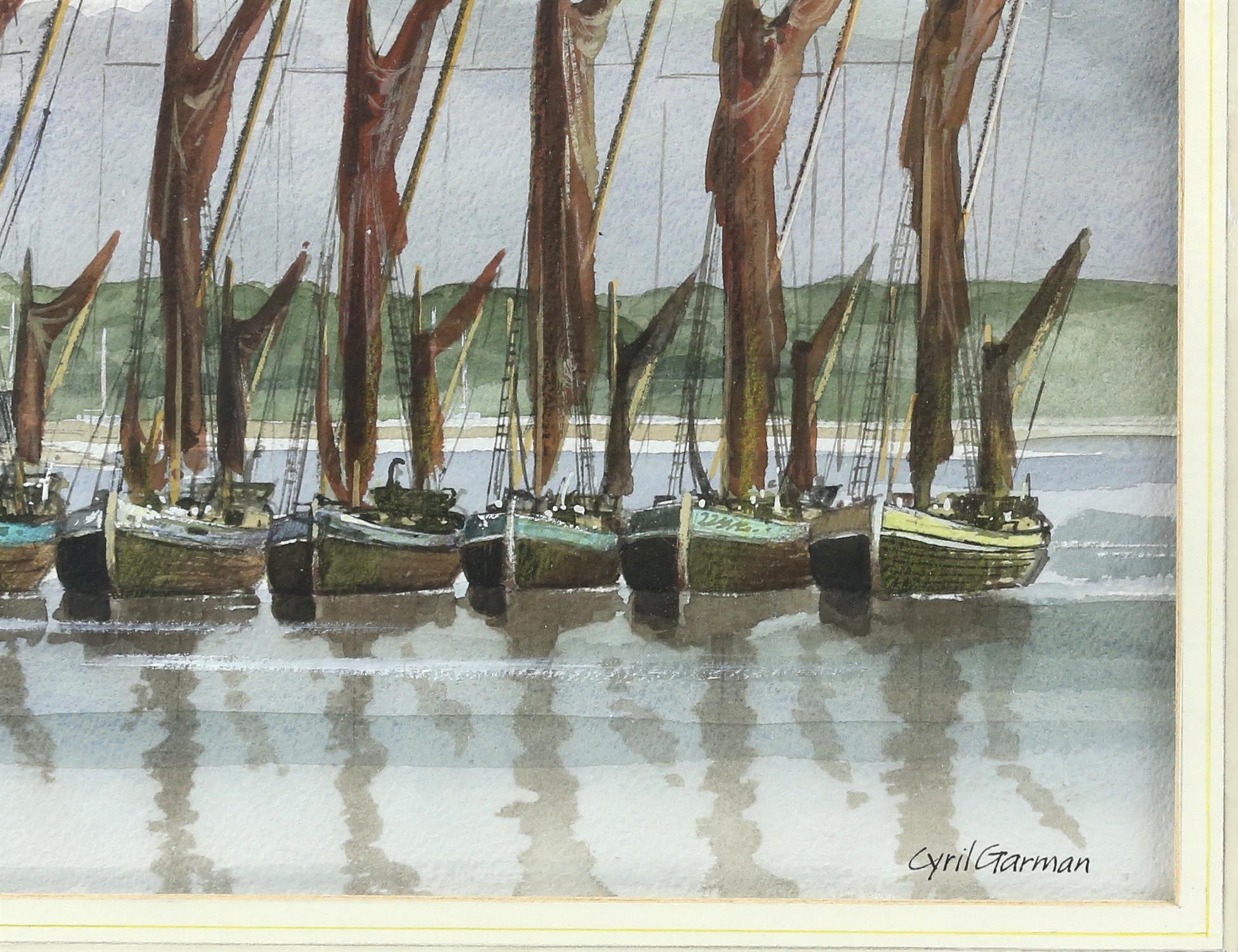 "Cyril Garman (20th Century British), ""Sailing Barges, Deben Estuary"", watercolour, signed, - Image 9 of 9"