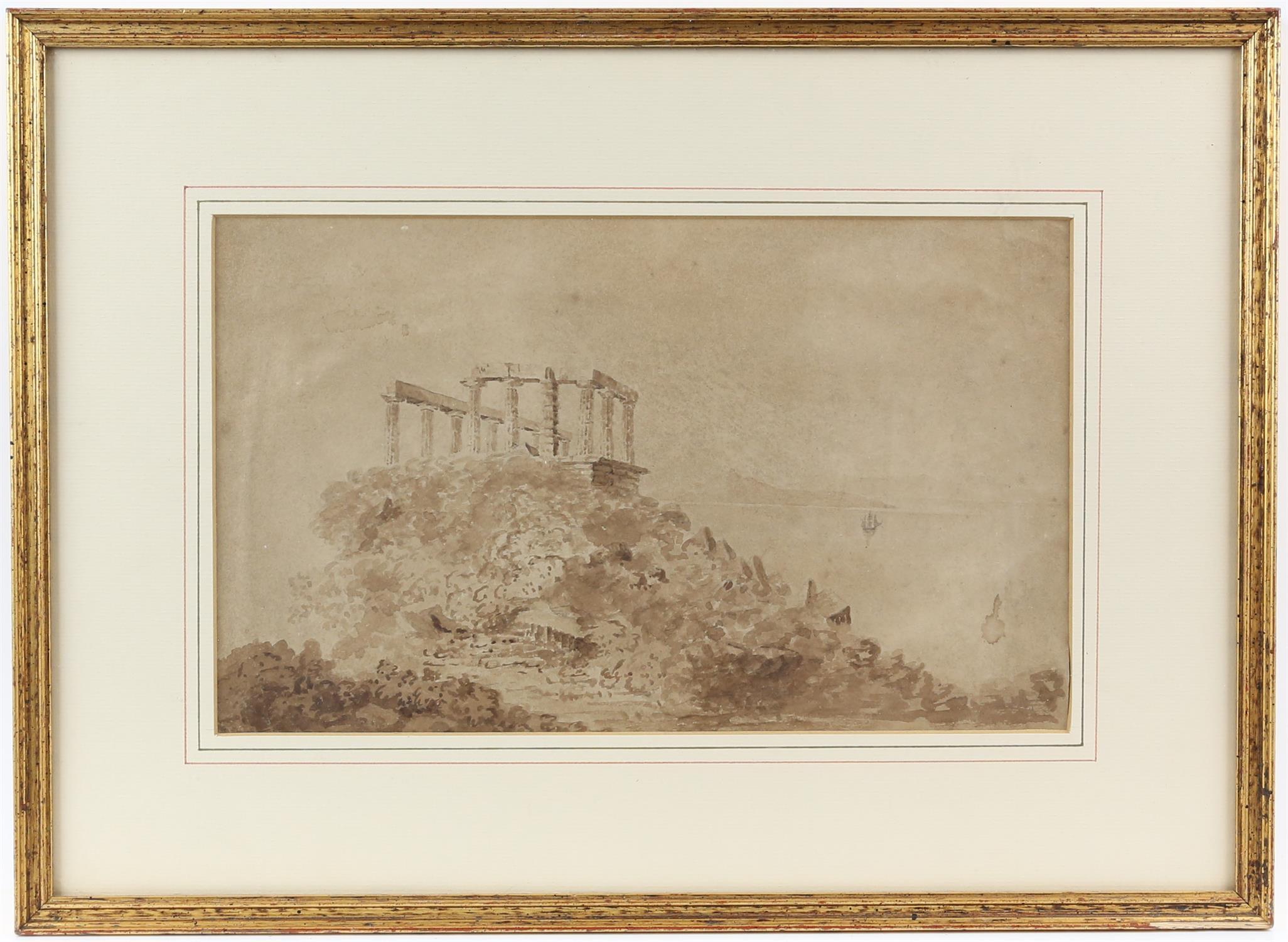 19th century English School, temple of Poseidon, sepia wash, 18cm x 30cm, - Image 2 of 3