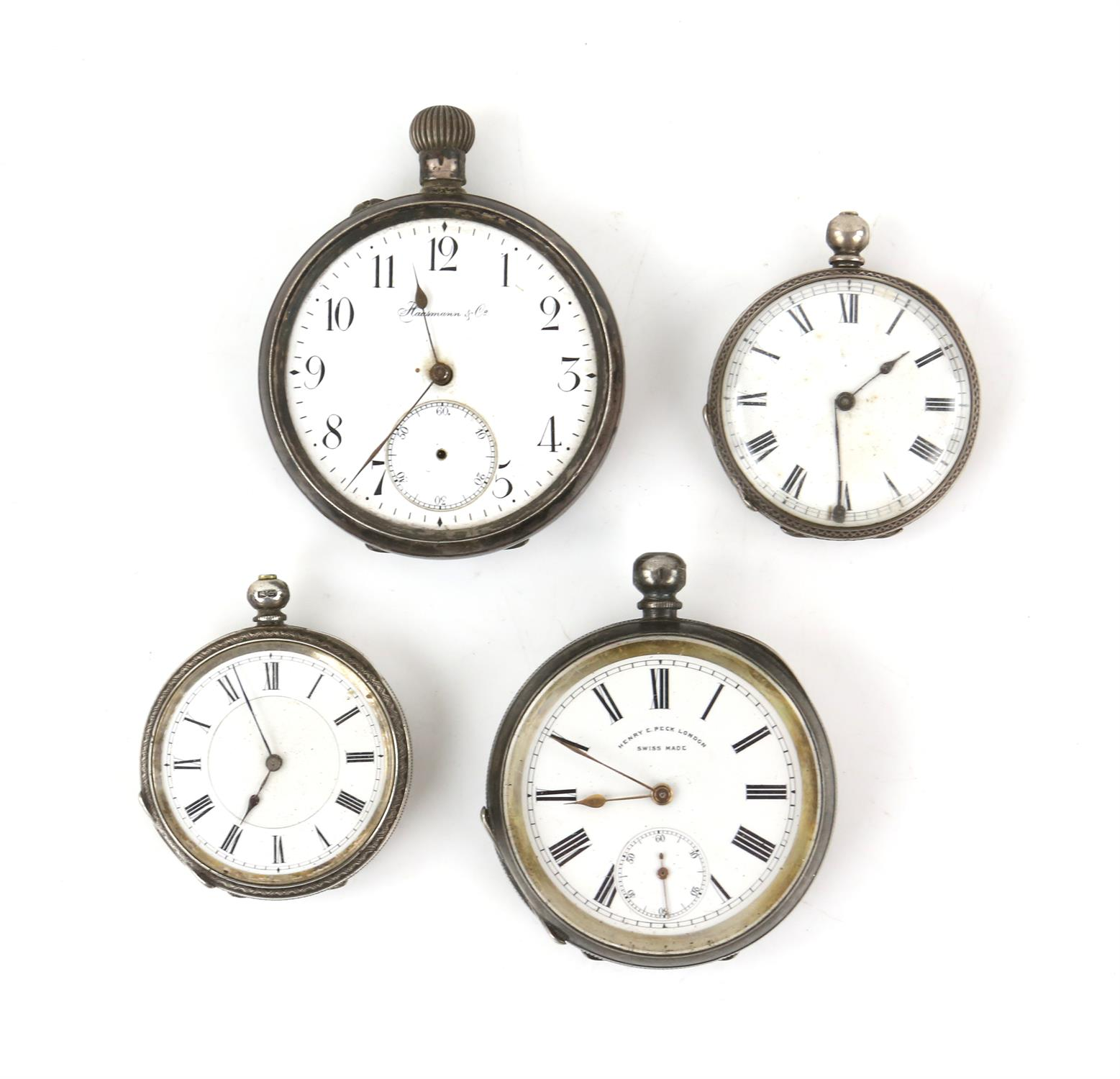 Selection of four continental silver 800 to 935 grade pocket watches