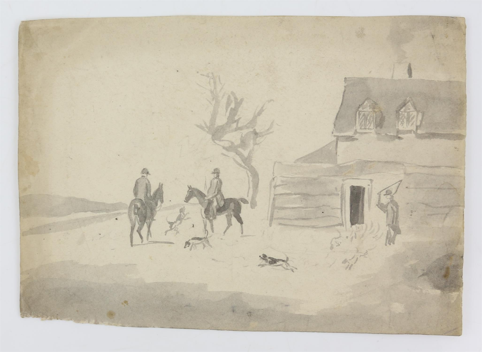 19th century scene with a castle and figures before the moat, sepia wash, 9.5cm x 15. - Image 5 of 8
