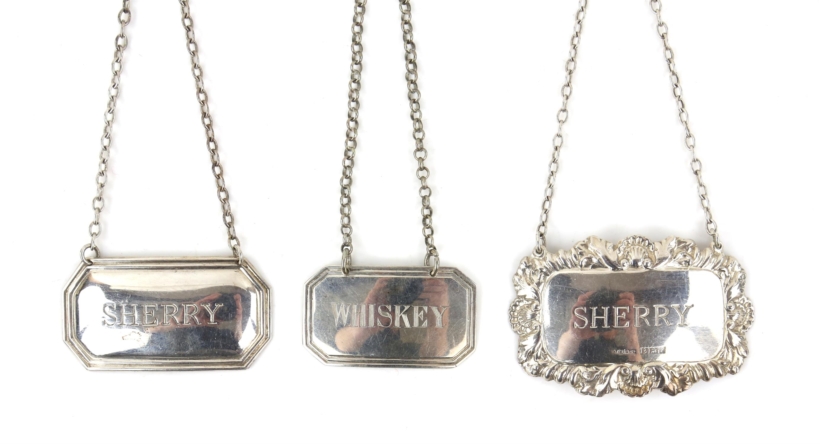 """William IV silver bottle label """"Whiskey"""" Birmingham 1832 , George Unite, two later """" Sherry"""""""