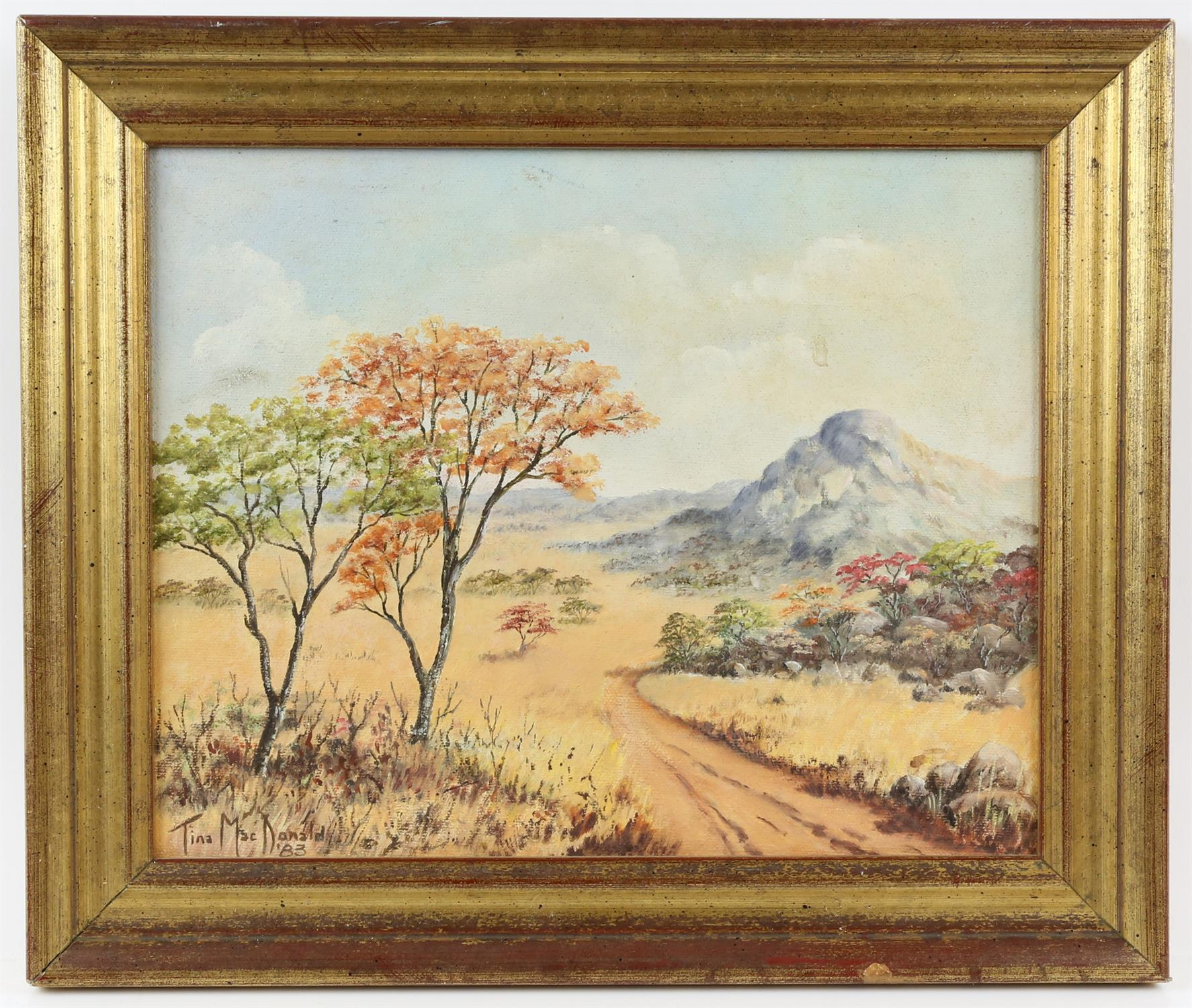 Tina MacDonald, Australian 20th century, landscape with hills and trees, signed and dated '83, - Image 2 of 3