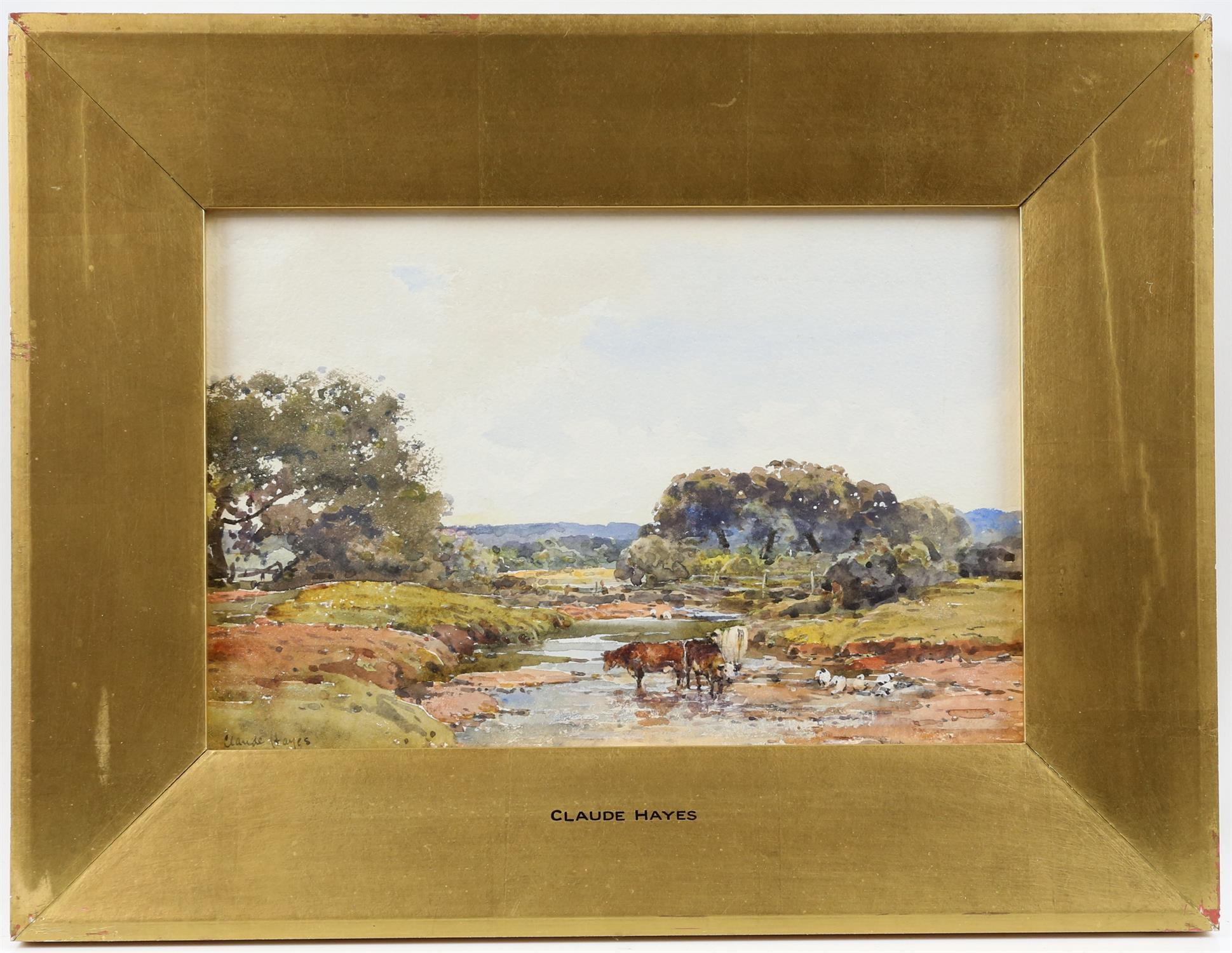 Claude Hayes (British, 1852-1922), landscape with cattle watering at a stream, signed, watercolour, - Image 2 of 4