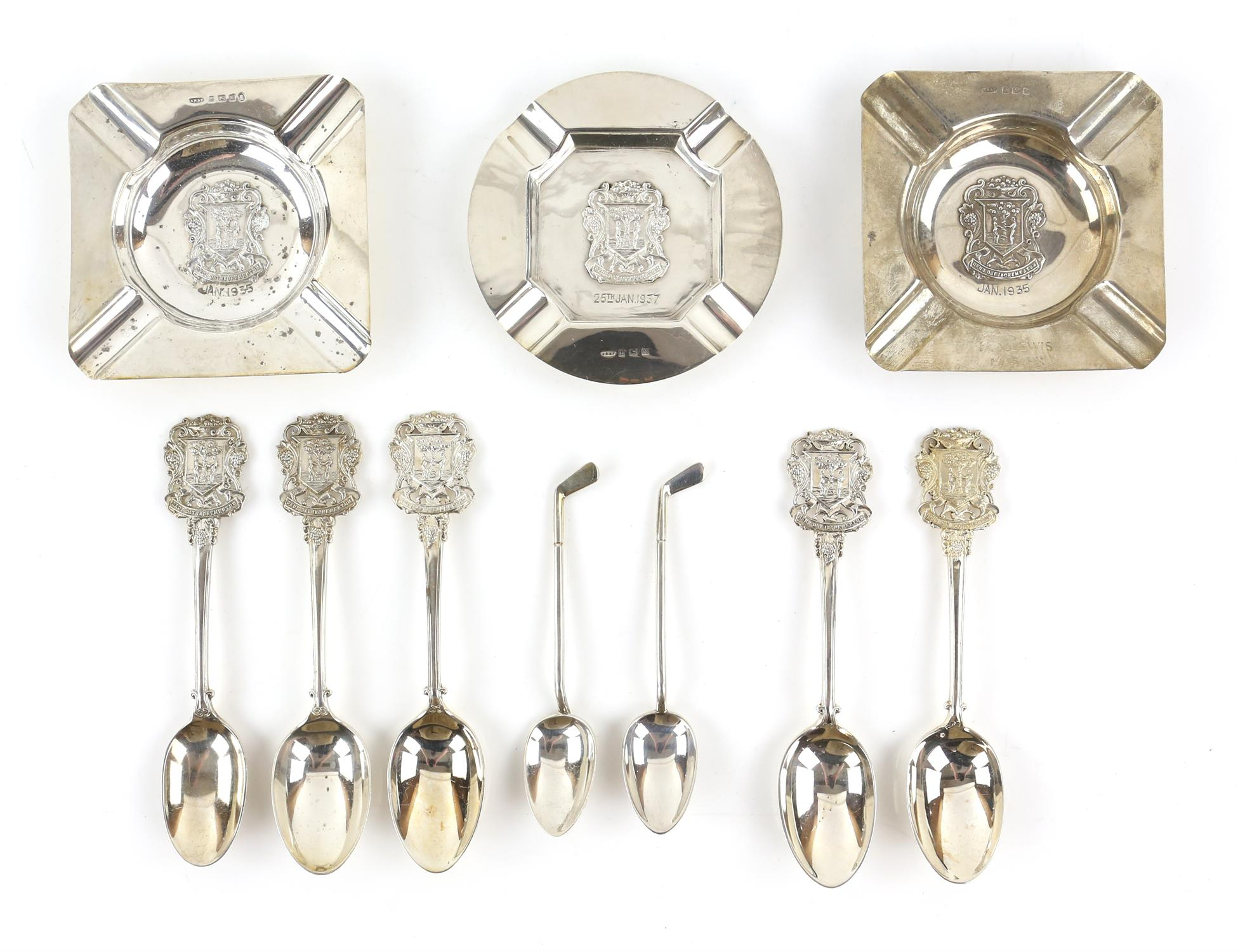 The Worshipful Company of Fruiterers, 5 spoons and 3 ash trays, together with two golfing tea