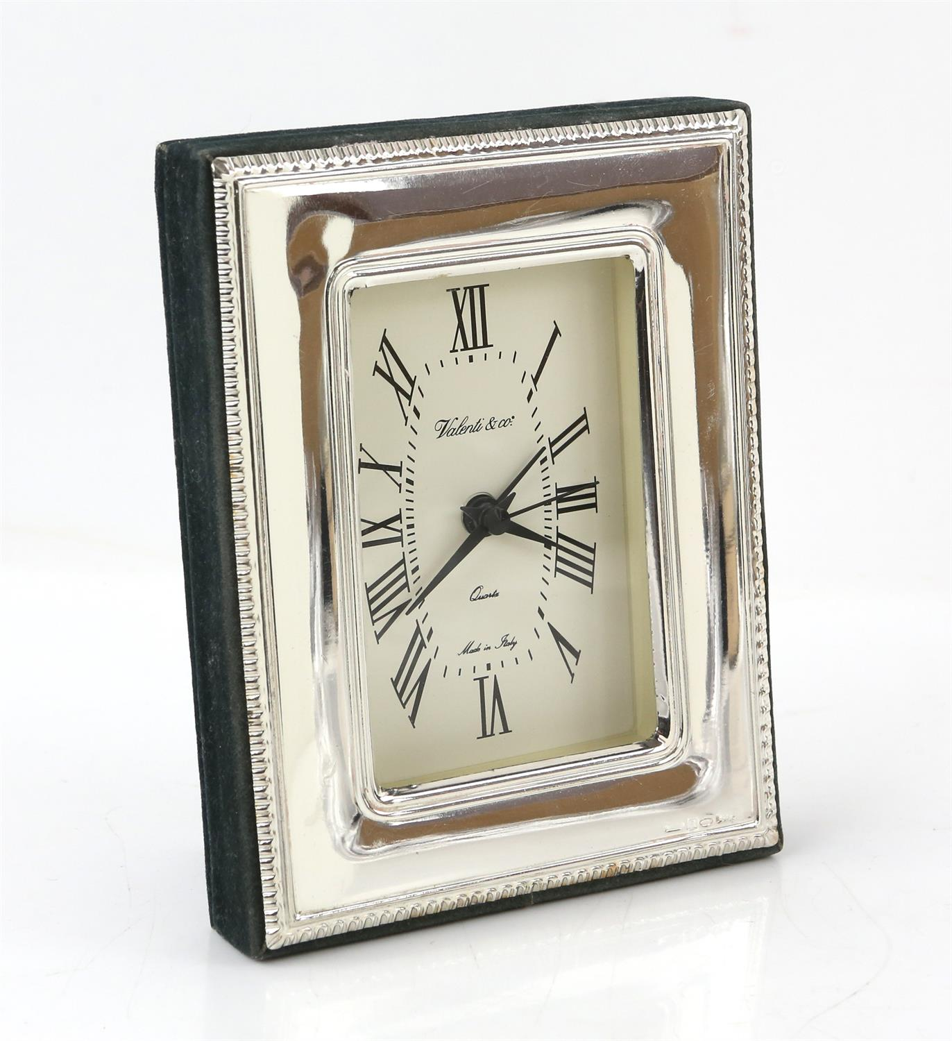 Continental silver framed clock by Valenti and Co