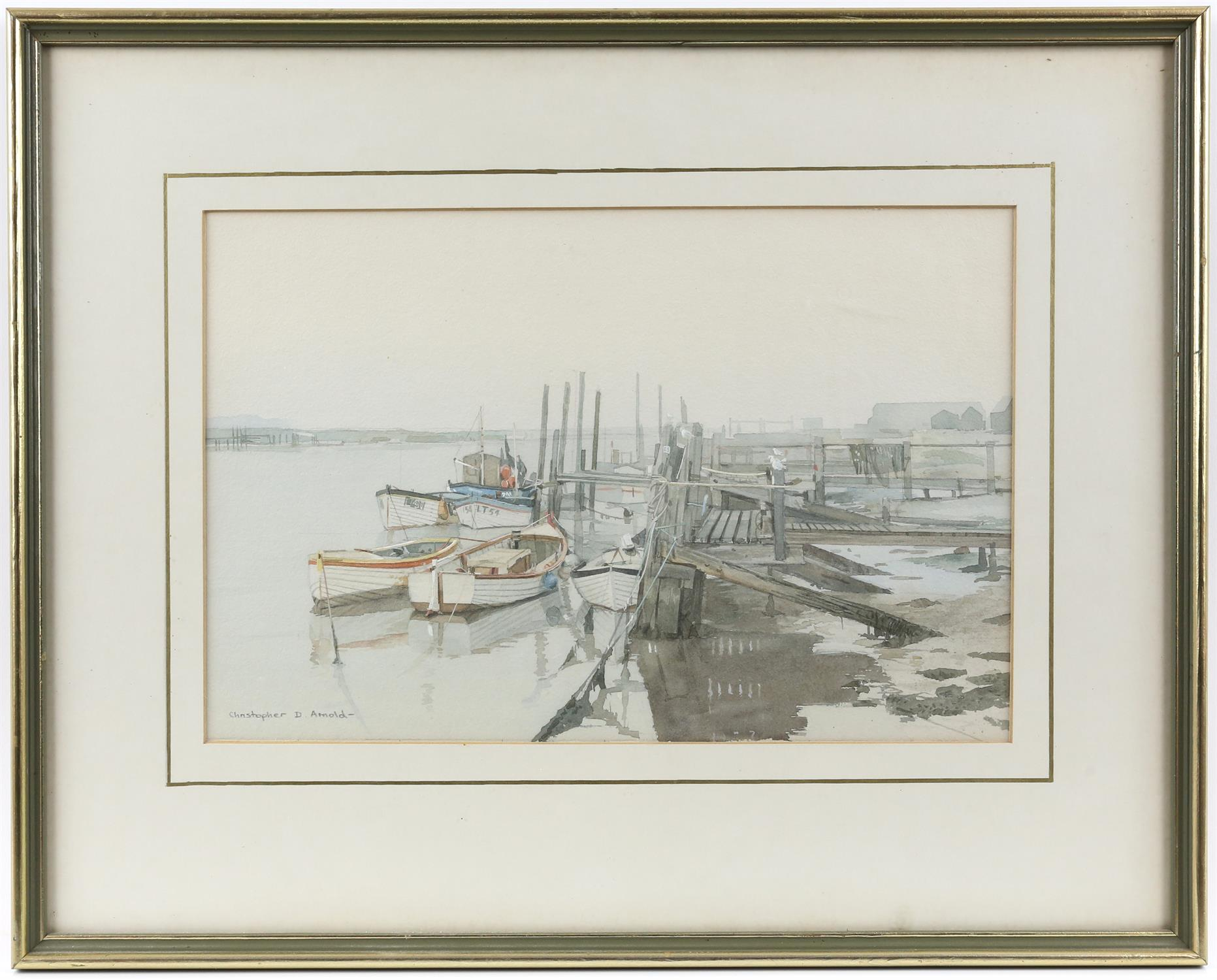 Christopher D Arnold (British, b. 1955), 'Fishing Boats, Southwold, Sussex', signed, watercolour, - Image 2 of 4