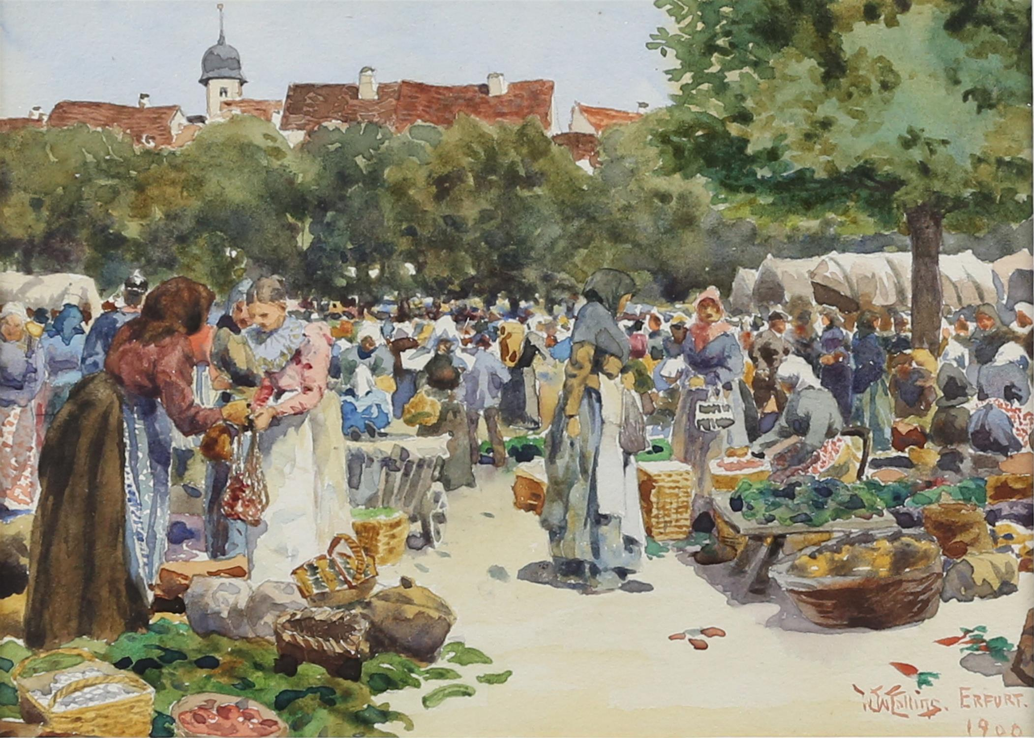 William Wiehe Collins, British 1862-1951, 'Erfurt', market scene, signed and dated 1900,