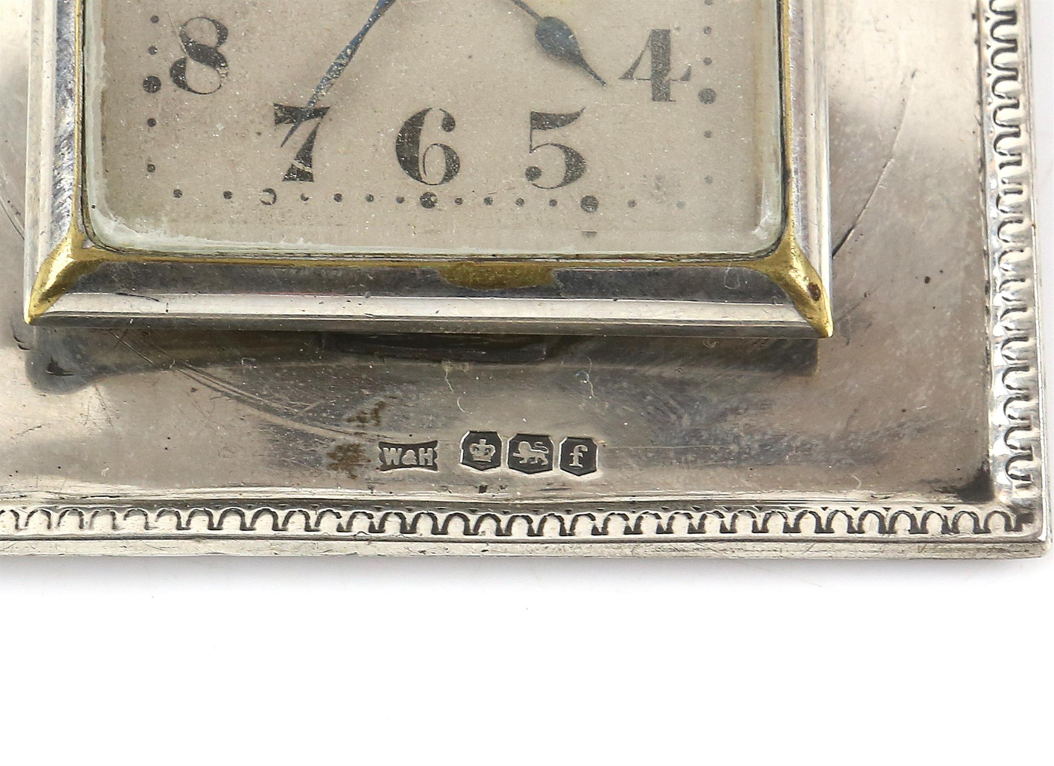 Walker and hall silver framed clock, an Indian silver white metal desk top card holder and a - Image 7 of 8