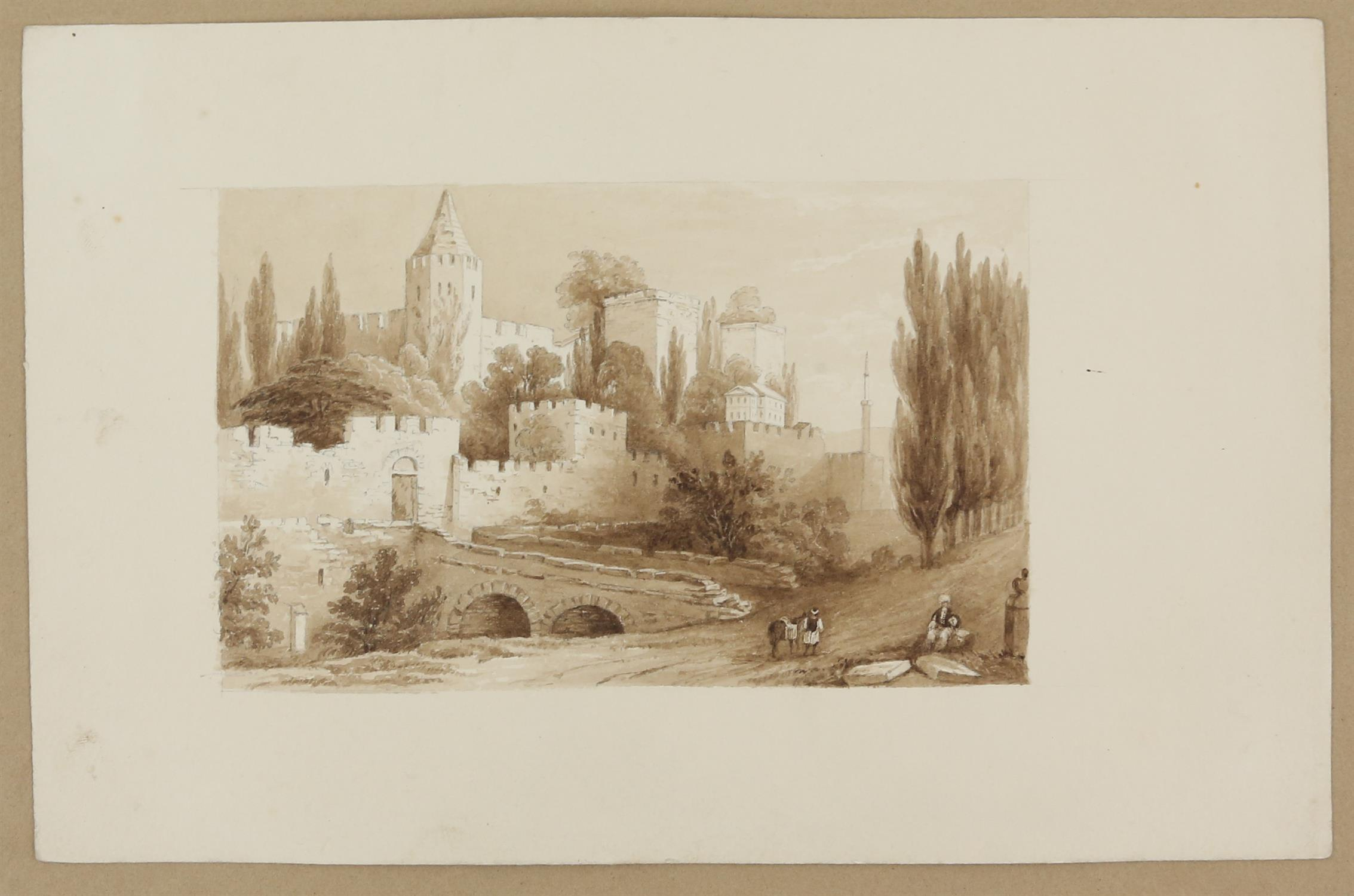 19th century scene with a castle and figures before the moat, sepia wash, 9.5cm x 15. - Image 3 of 8
