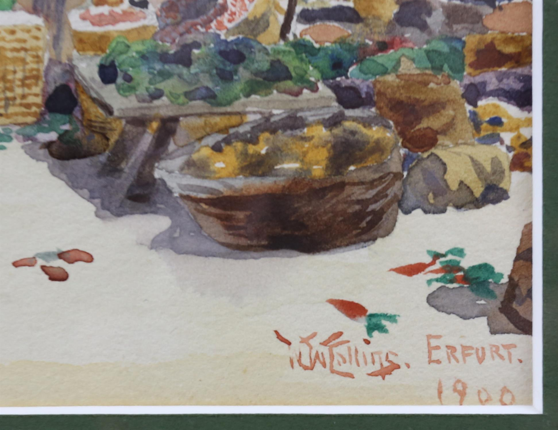 William Wiehe Collins, British 1862-1951, 'Erfurt', market scene, signed and dated 1900, - Image 3 of 4