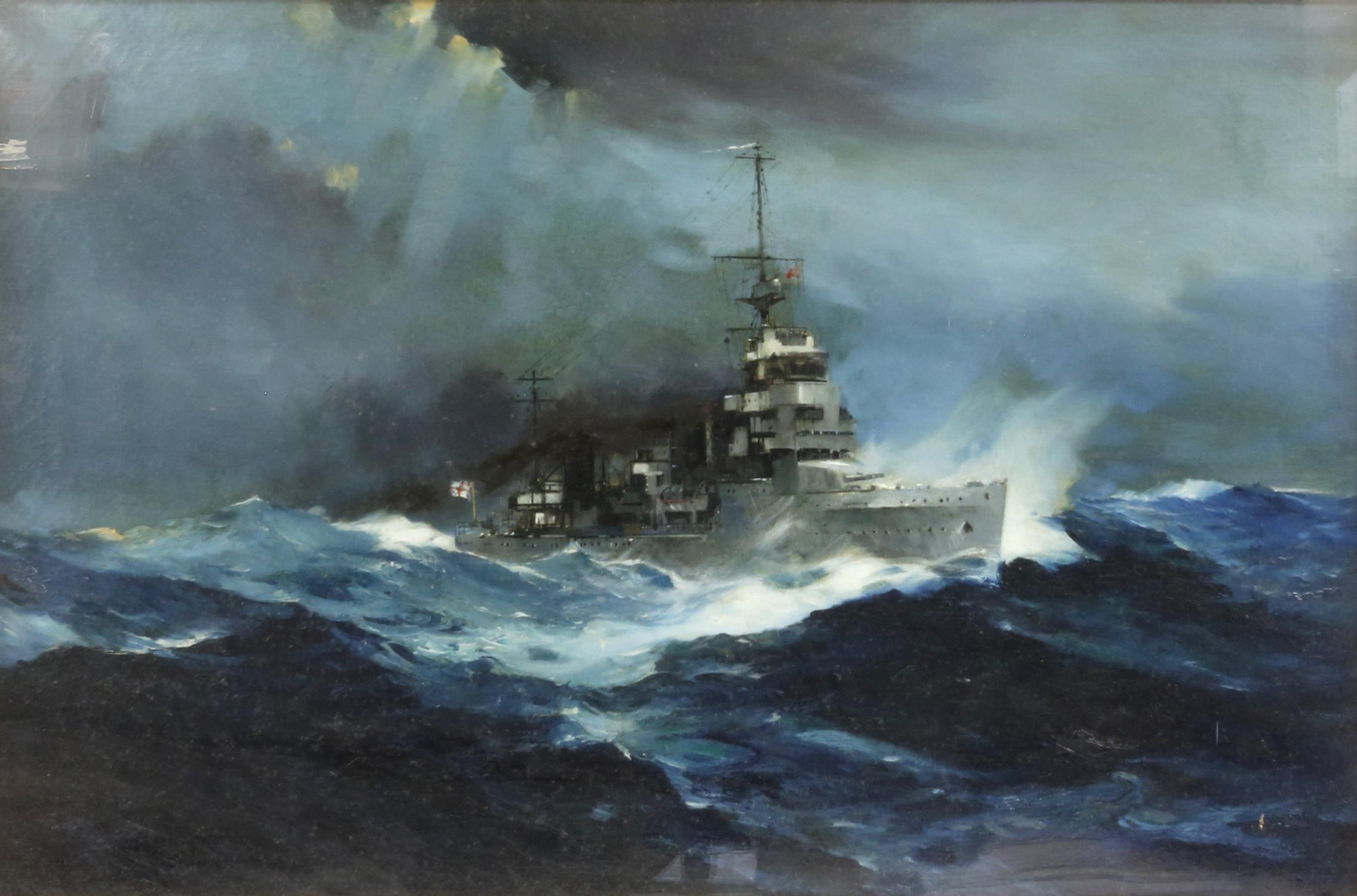 § Frank Henry Mason (British, 1876-1965). Frigate in stormy seas, circa 1920's, signed,