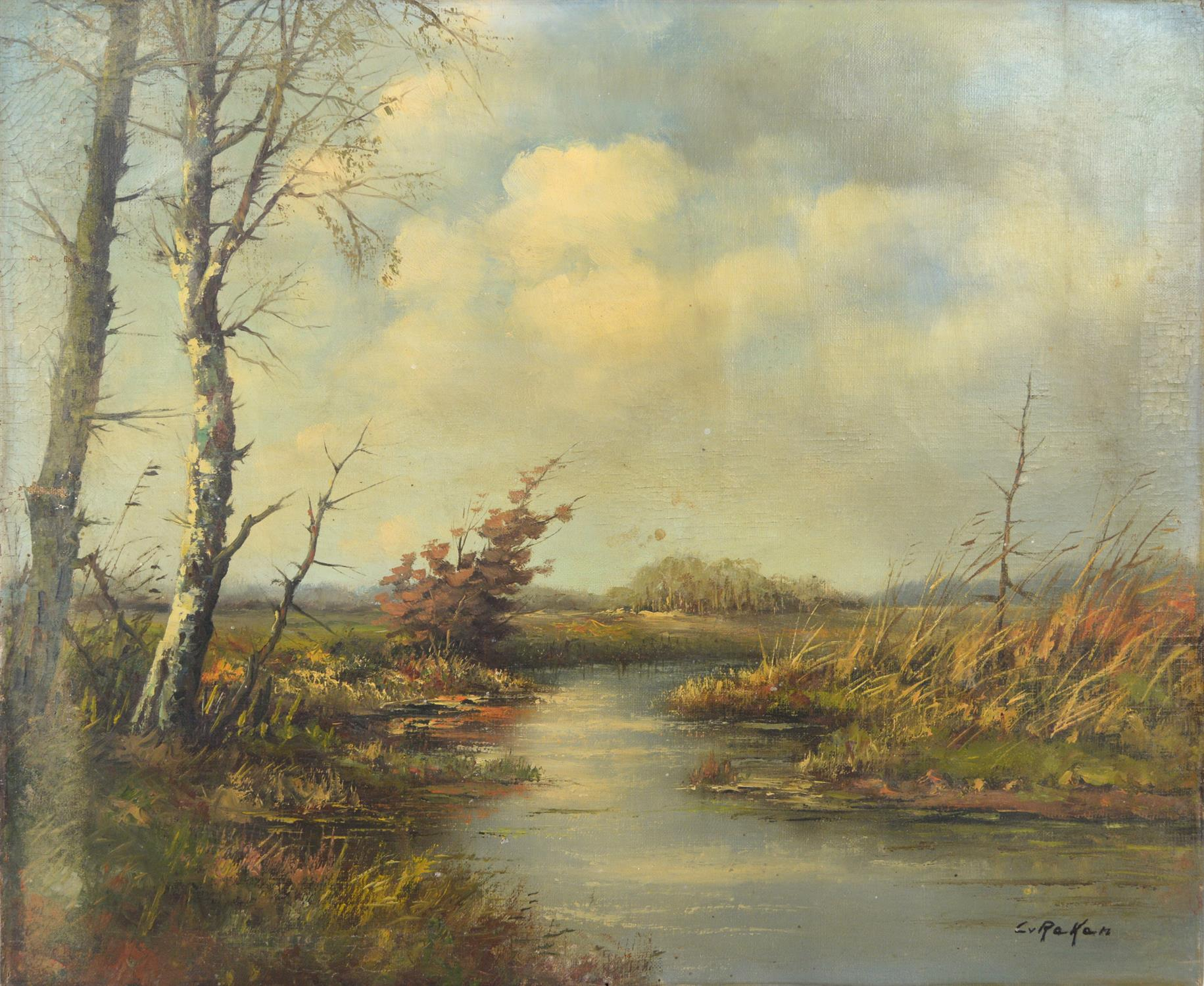 Cor Van Reken (Dutch, 1878-1959), View of a river, oil on canvas, signed lower right, 50 x 60cm