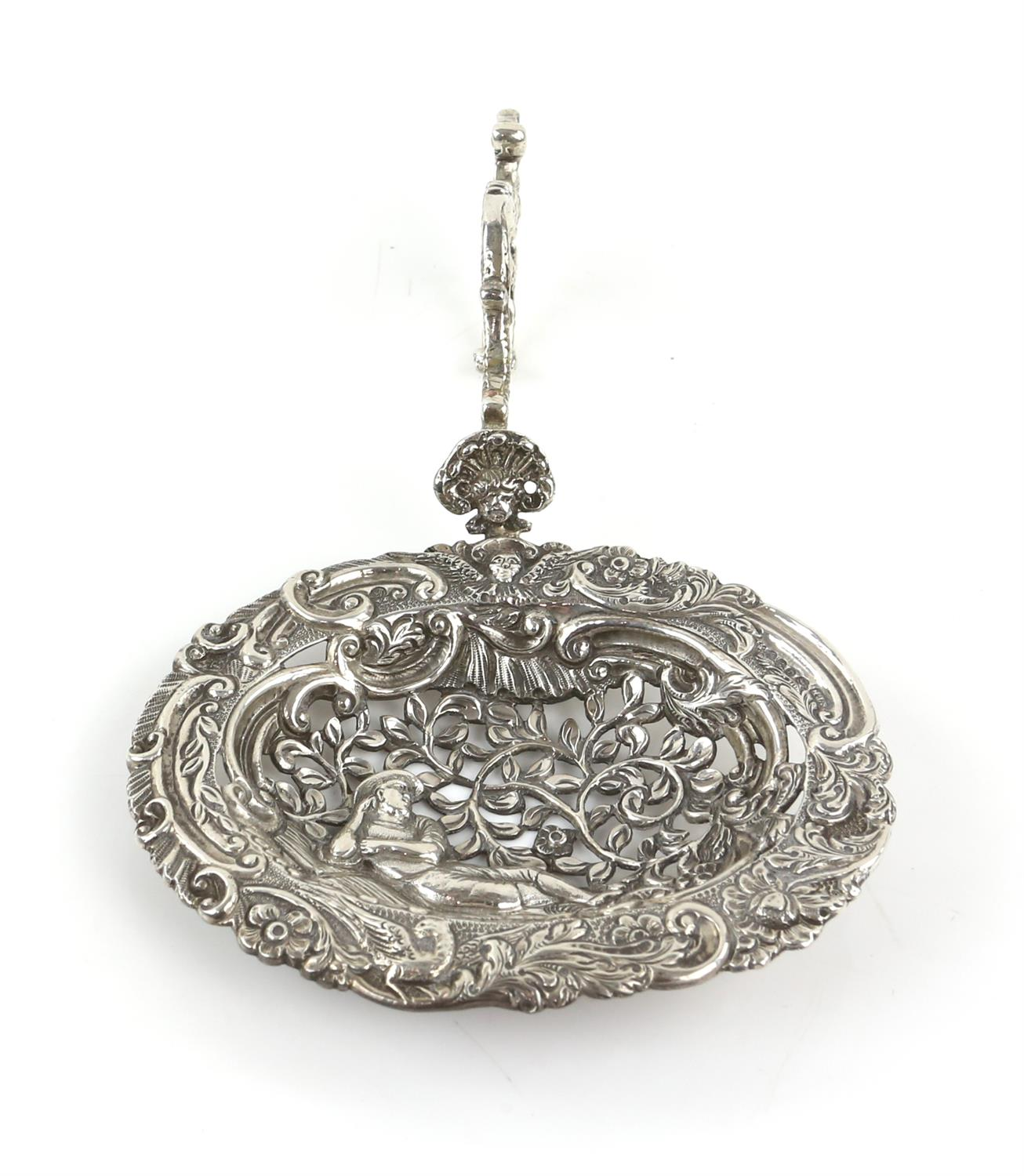 Large Continental silver bon bon sifter spoon with a man surrounded by foliage, import marks ETB - Image 5 of 5