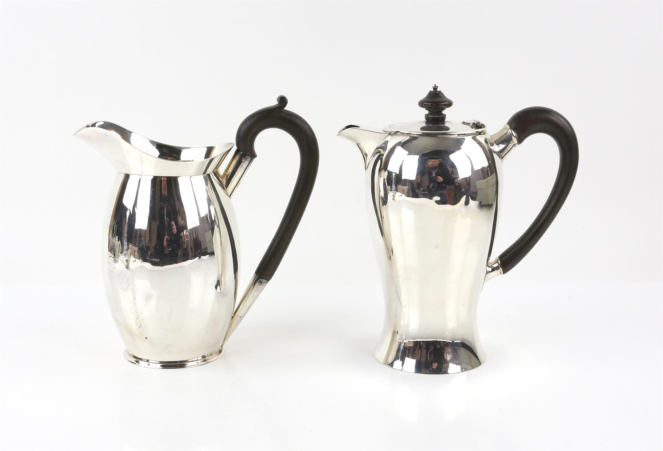 Edward VII silver coffee-pot, the plain baluster body with ebonised handle and finial,