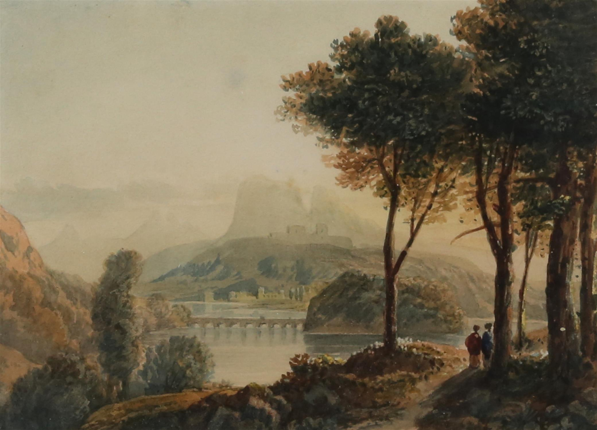 Circle of Francis Oliver Finch (British, 1802-1862), classical landscape with figures on a path in