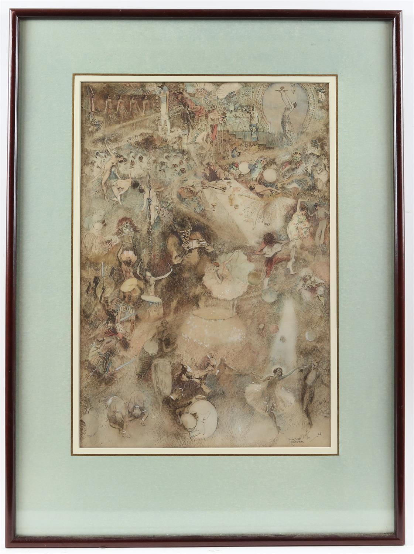 § Howard K. Elcock (British, 1886-1952). Fantasy figures partying. Watercolour 1923. - Image 2 of 4