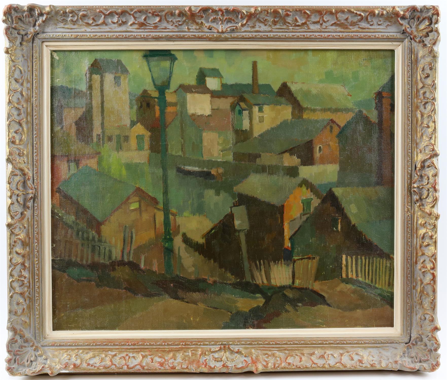 Clifford Charman, (British 1910-1993), 'English Town', oil on canvas, 46cm x 57cm, - Image 2 of 3