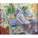 A Roland, 20th century, interior scene with chair, fruit and mug on a table, signed, oil on canvas,