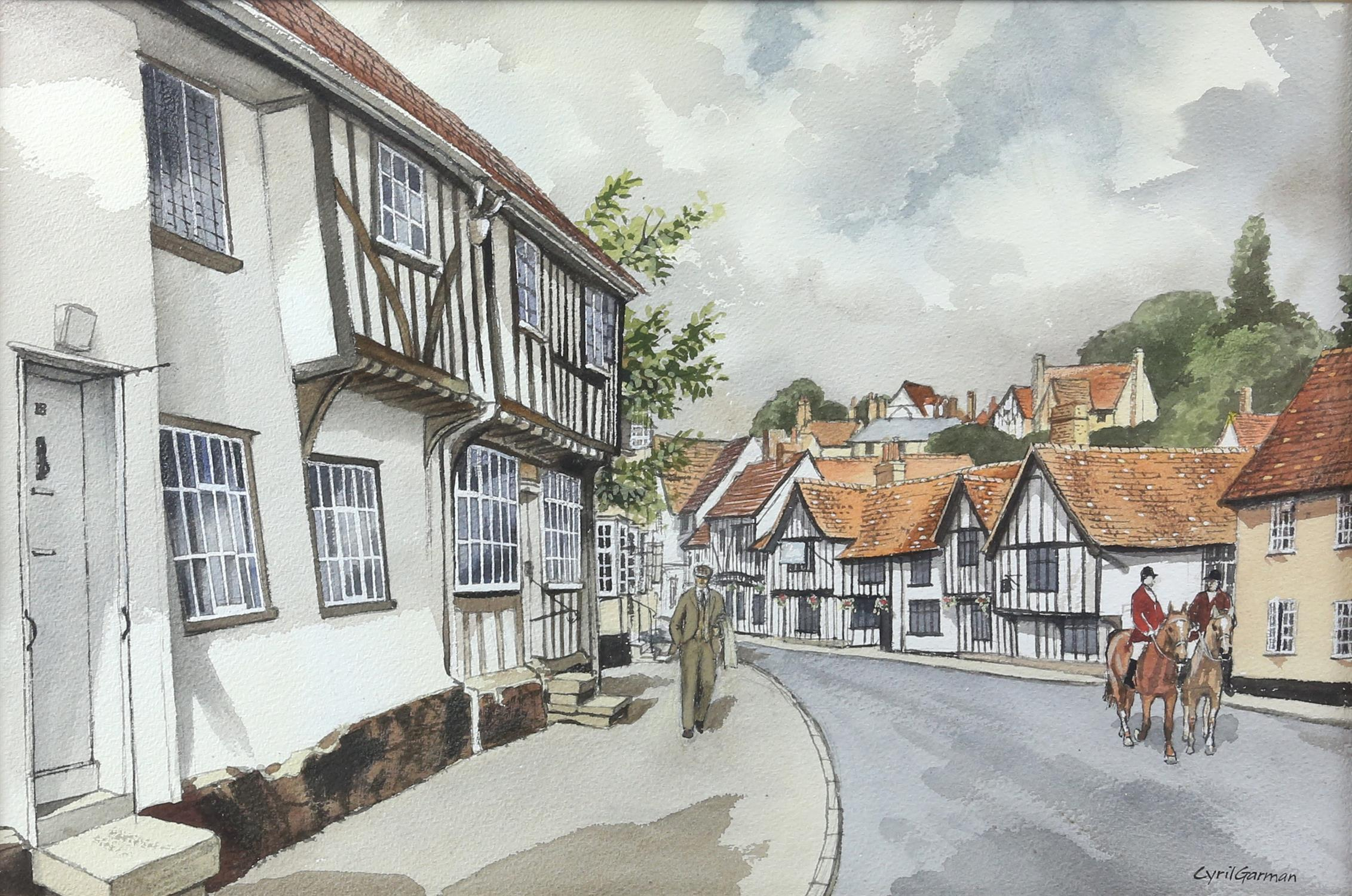 "Cyril Garman (20th Century British), ""Sailing Barges, Deben Estuary"", watercolour, signed, - Image 2 of 9"