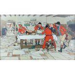 After Cecil Aldin, print of huntsmen in a tavern, 37 x 60.5cm,