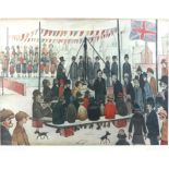 After L S Lowry, 'Laying a foundation stone', print, published by Adam Collection Ltd., 55 x 67.