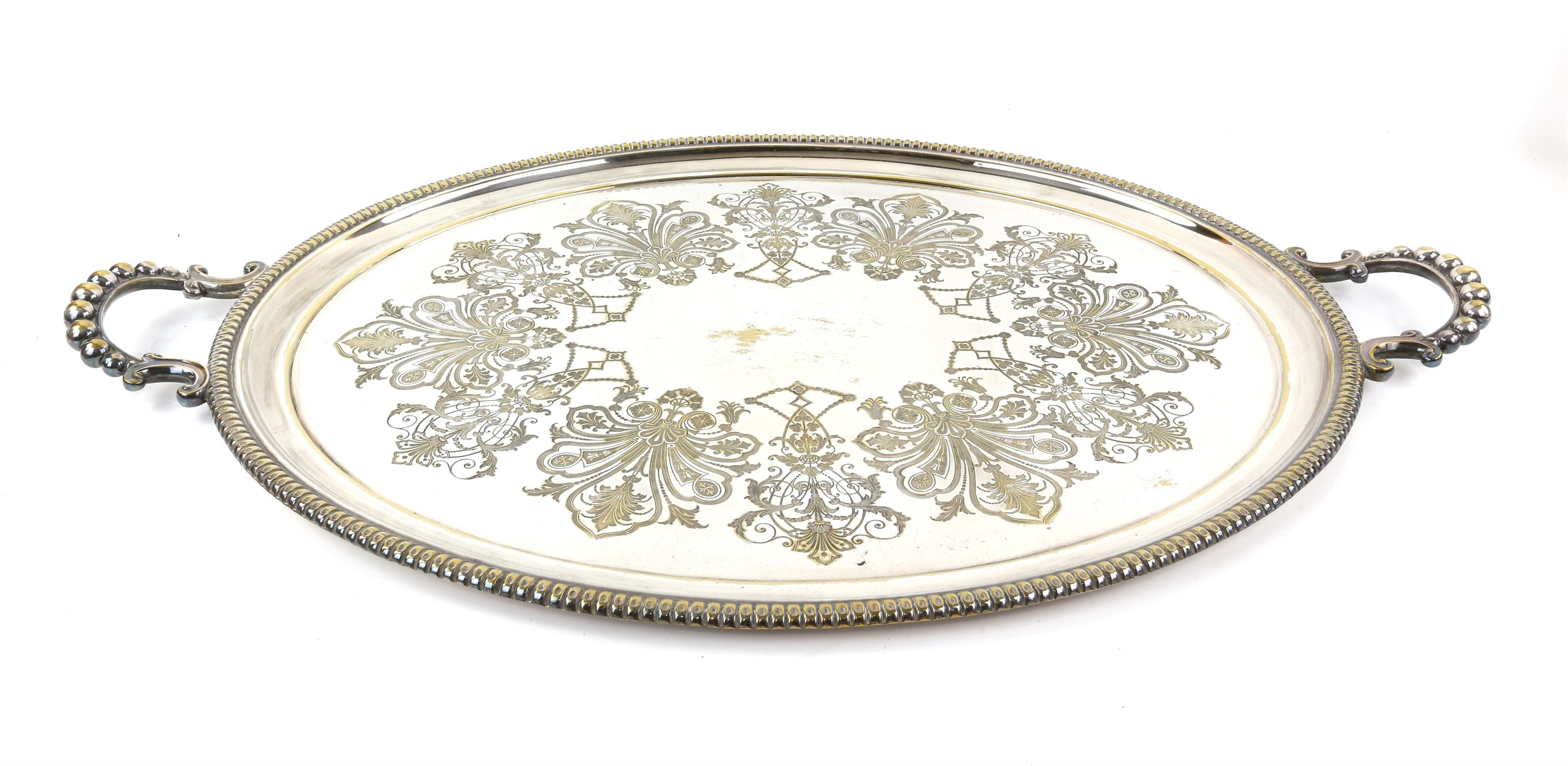 Silver plated twin-handled tray with beaded border, 77cm wide, pair of bottle holders, - Image 2 of 5