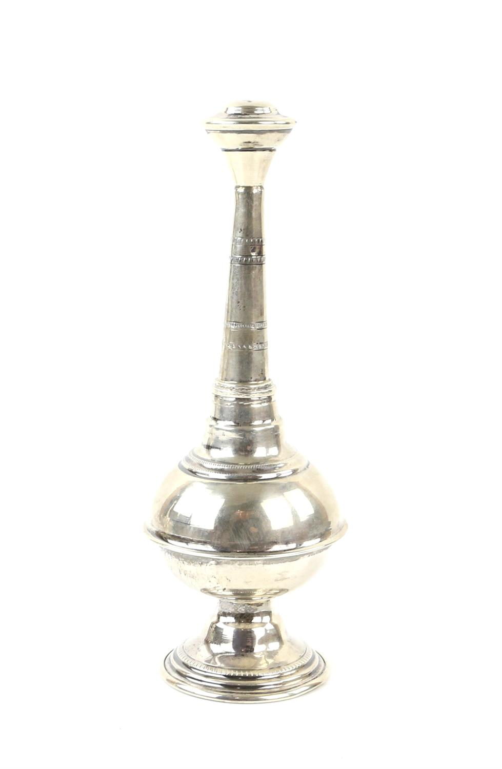 Two 20th century Egyptian silver rosewater sprinklers, the long neck with bands of decoration, - Image 4 of 6