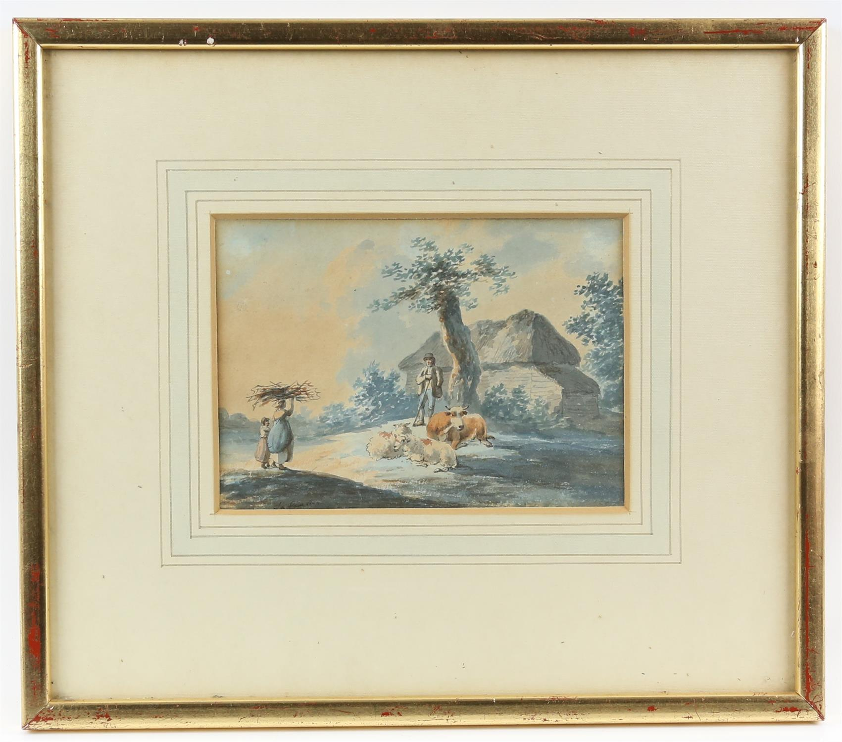 Peter La Cave, act. c. 1769-1816, 'Shepherd conversing with woman and child gathering twigs', - Image 2 of 3