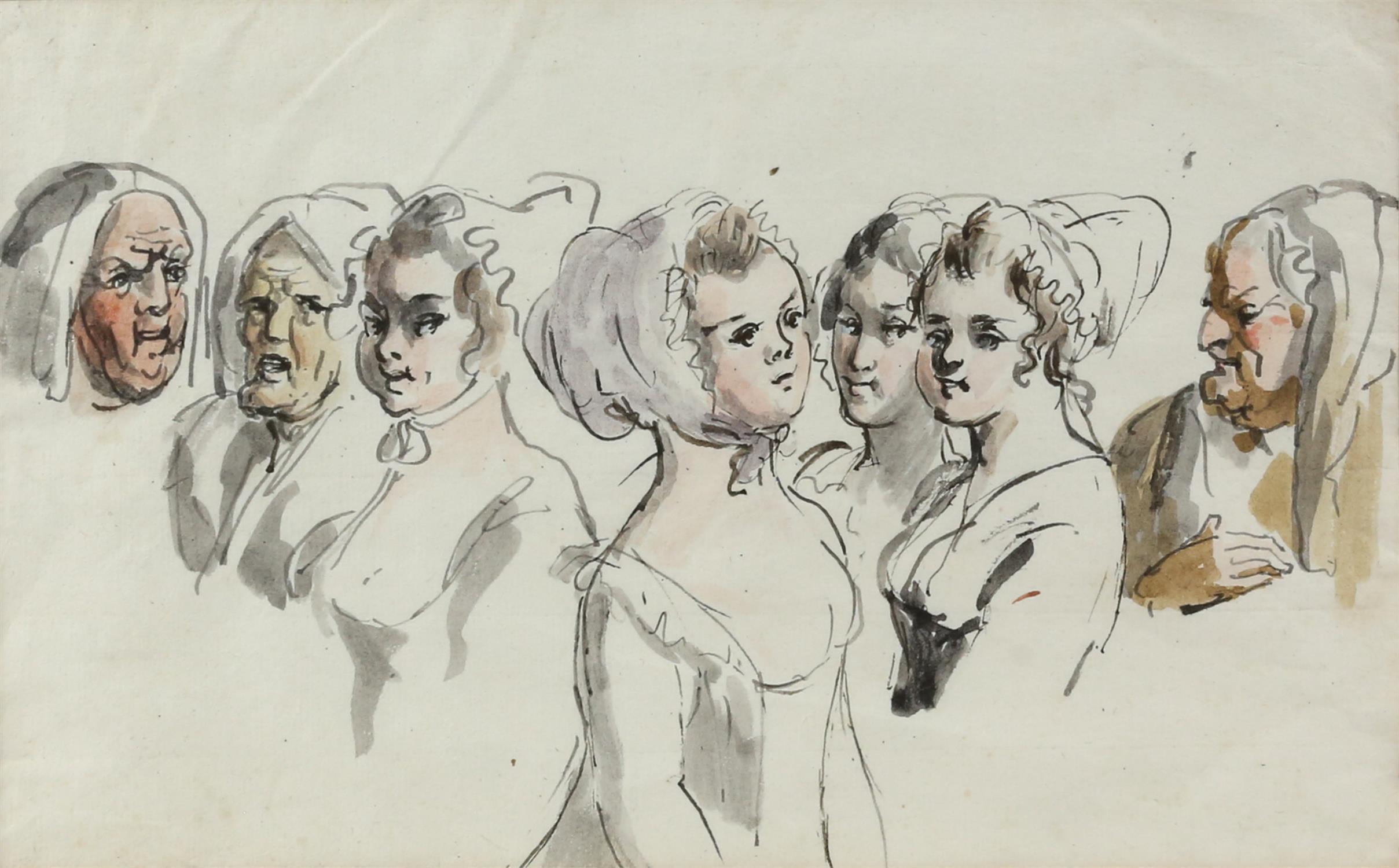 19th century Continental School, seven head studies of ladies, ink and watercolour, 16.5cm x 26.5cm,