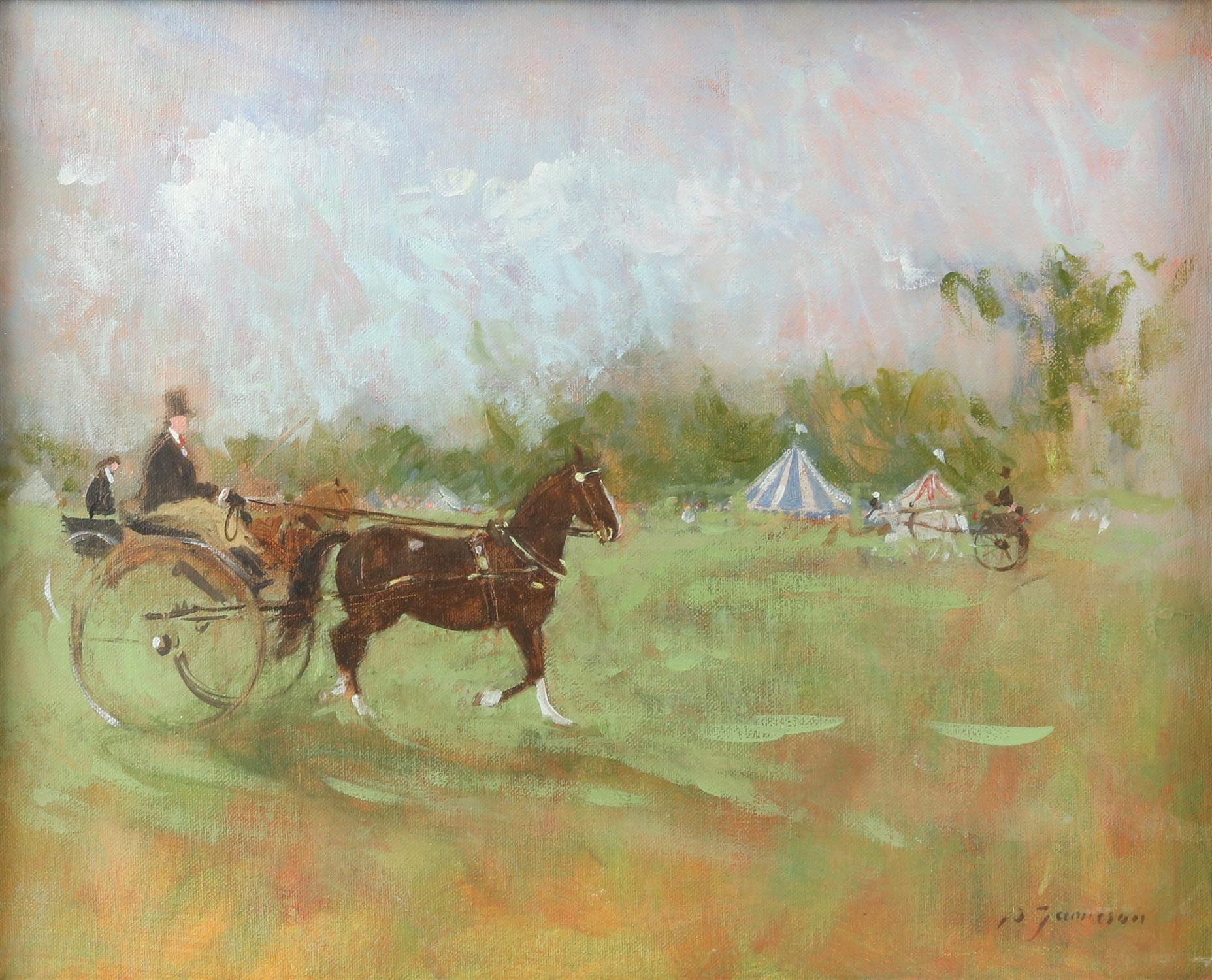 Peter Jamieson (British, b. 1945), 'Gig at the Aylesham Show', signed, oil on board, 29cm x 36.