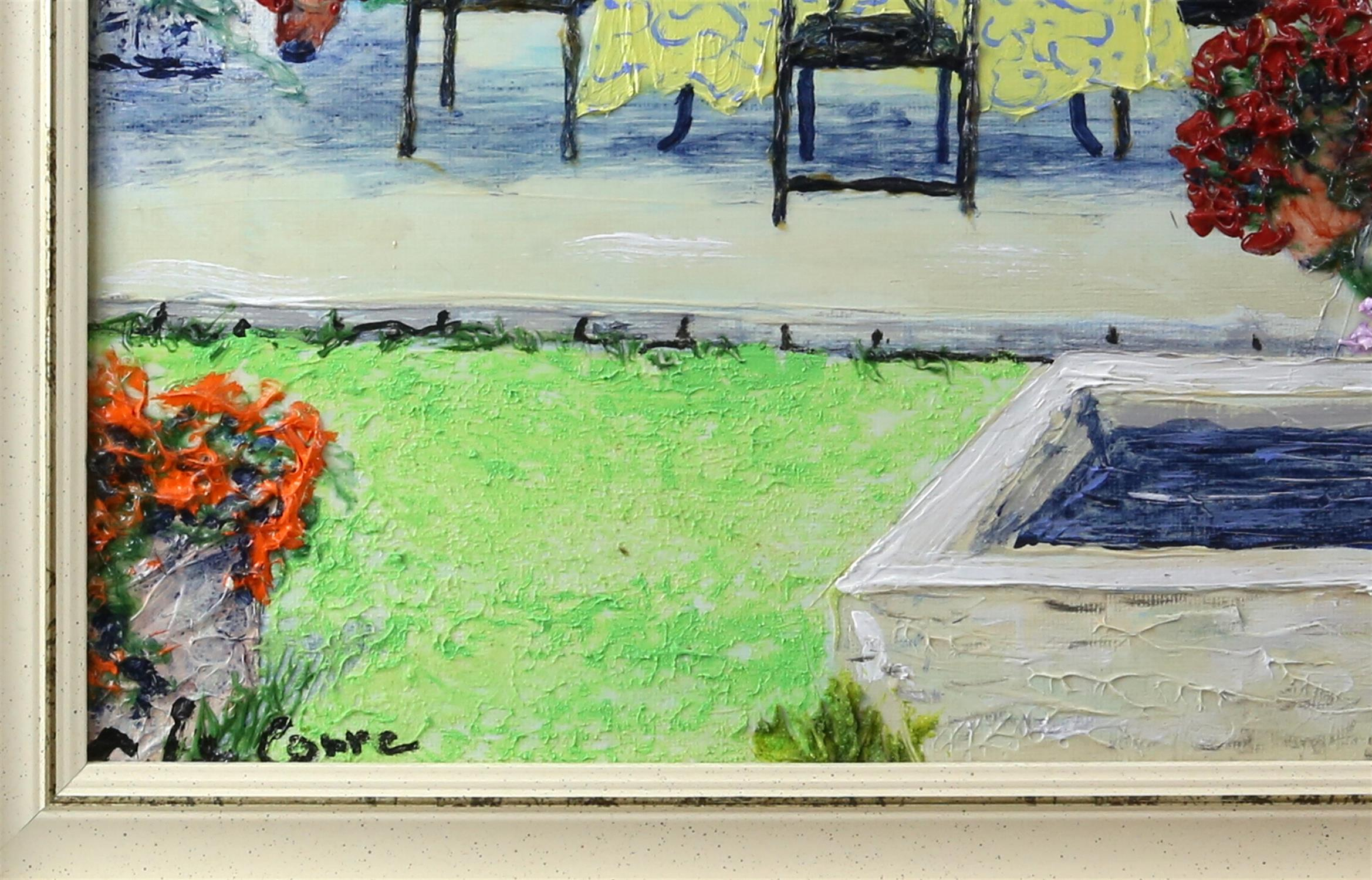 Guy le Corre, French 20th/21st century, 'La Fontaine Cote Jardin', singed, titled verso, - Image 3 of 4