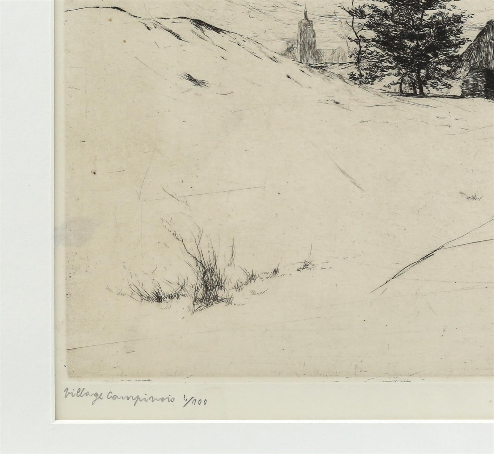 Jos van Hoof (Belgian, 1889-1937). 'Village Campinois', limited edition etching, signed, - Image 4 of 5