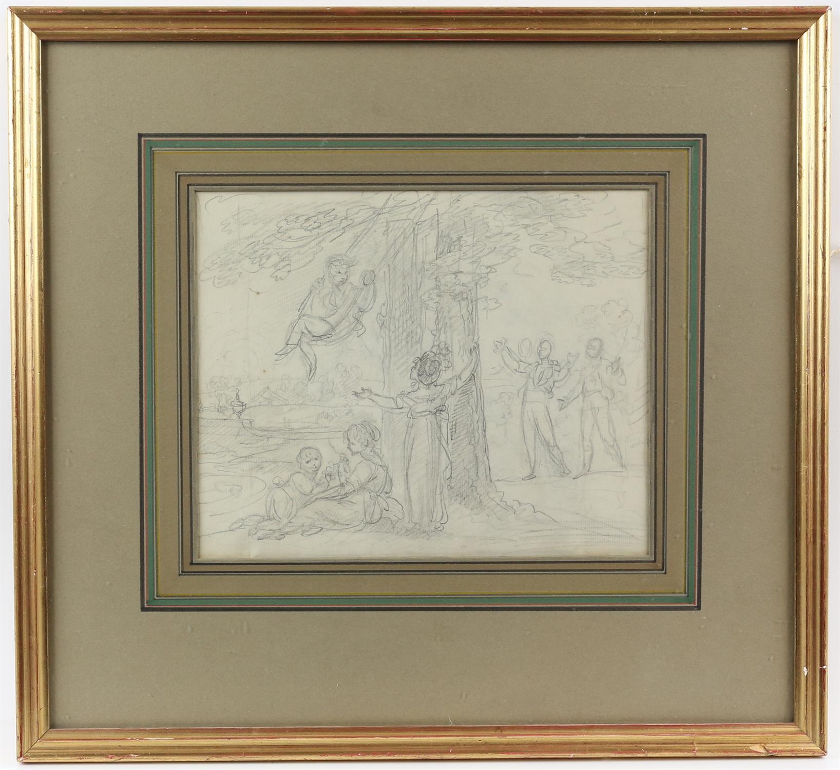 Maria Spilsbury (British, 1777- c. 1823), 'Swinging' pencil drawing, 18cm x 22.5cm, - Image 2 of 3