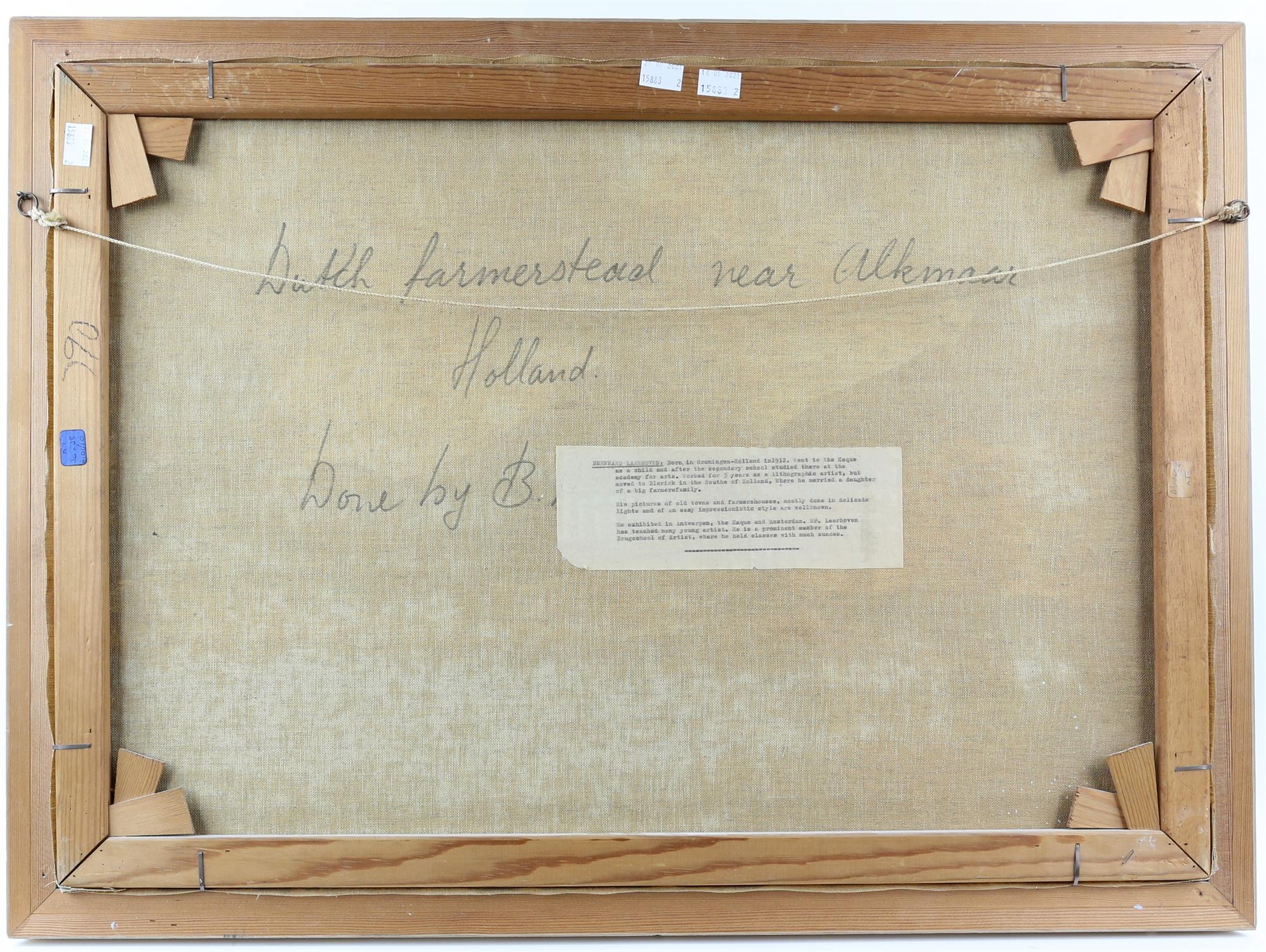 Bernard Laarhoven (Dutch, 1912). Dutch farmstead near Alkmar, Holland , title to verso, - Image 4 of 4