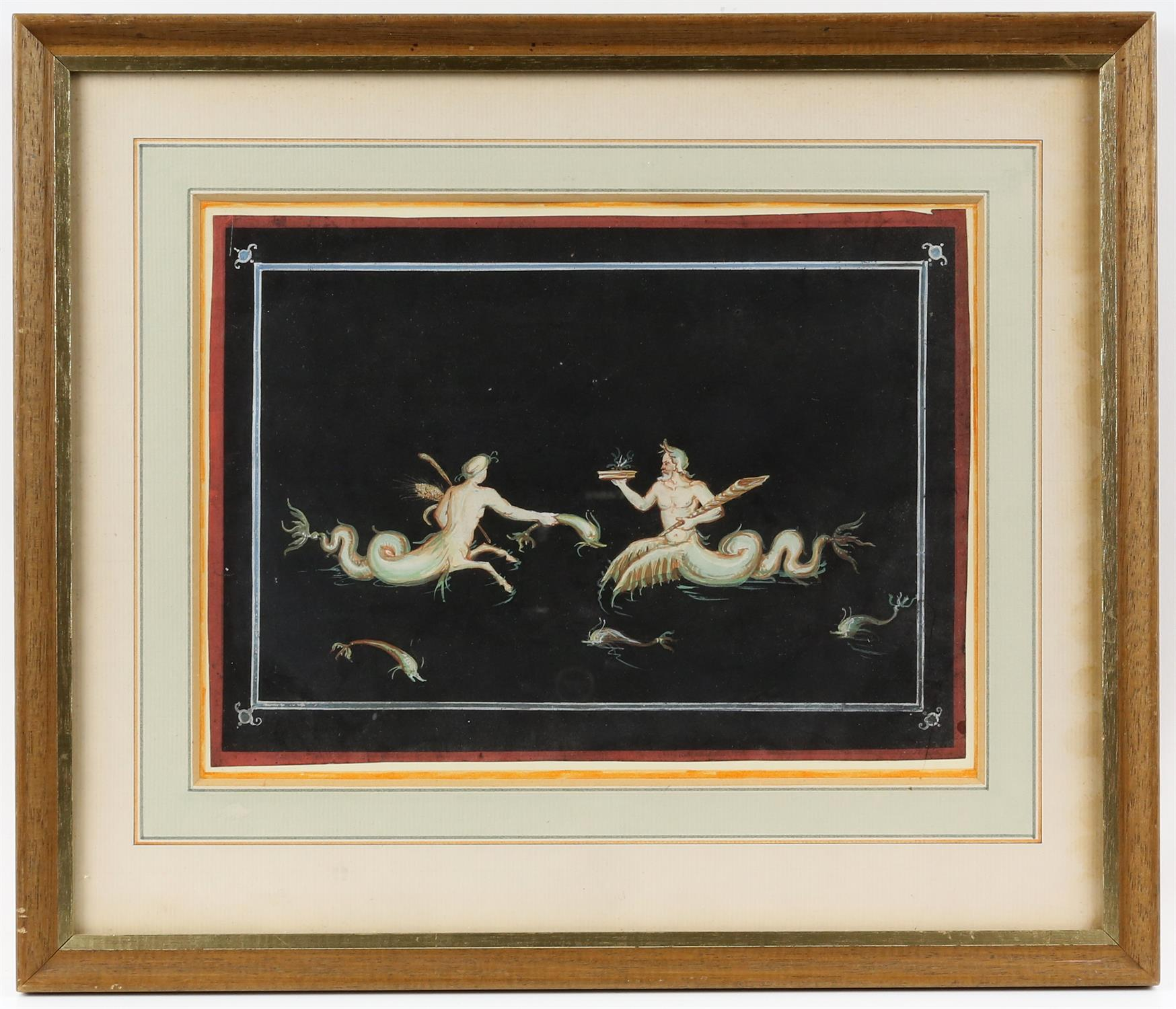 19th century Italian School, Pompeiian wall decoration for an interior, 22cm x 16.5cm, and another, - Image 6 of 7
