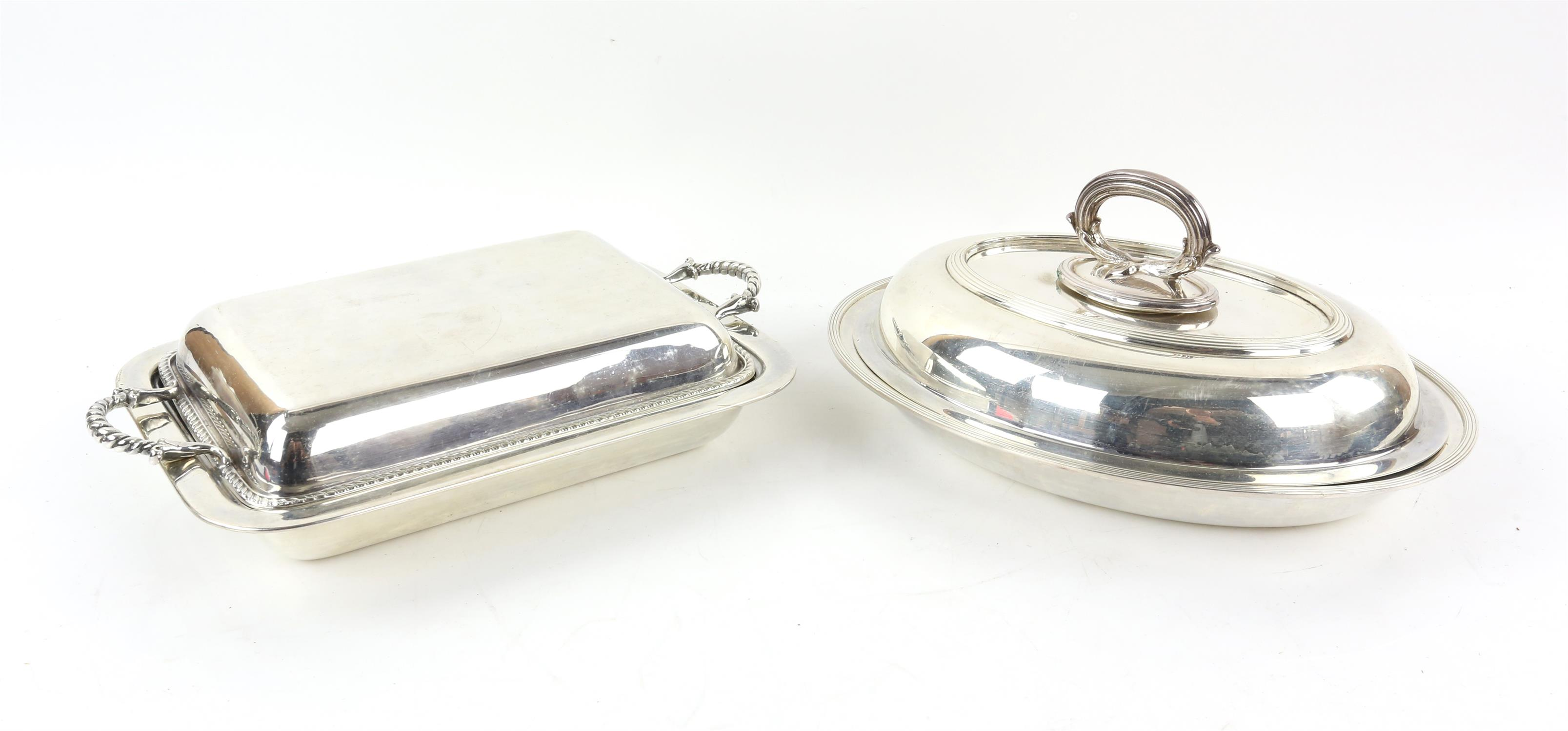 Silver plated twin-handled tray with beaded border, 77cm wide, pair of bottle holders, - Image 4 of 5
