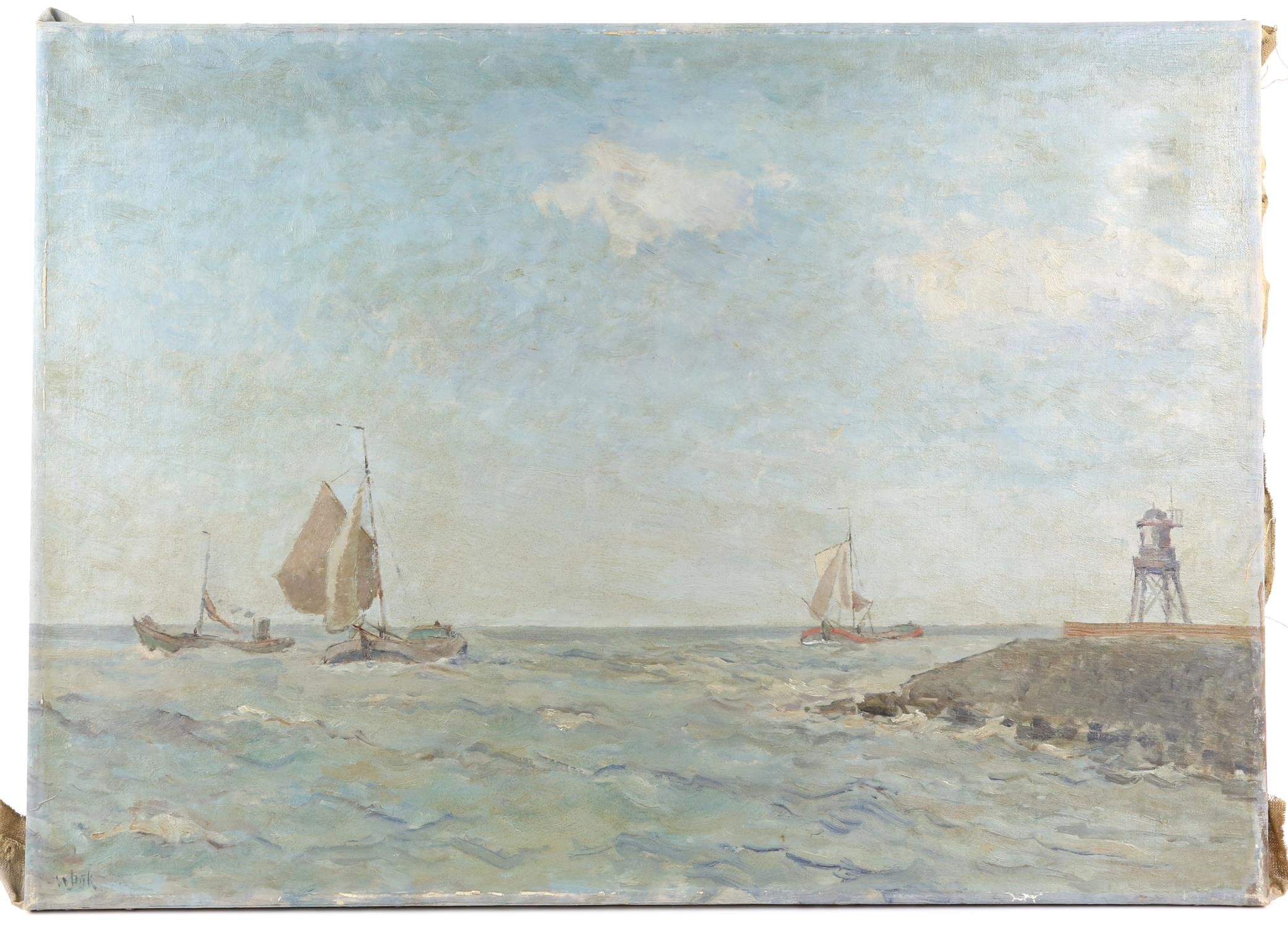 Willem Jans Dijk, Dutch 1881-1970, ships at sea off the coast, signed, oil on canvas, 51 x 72cm,