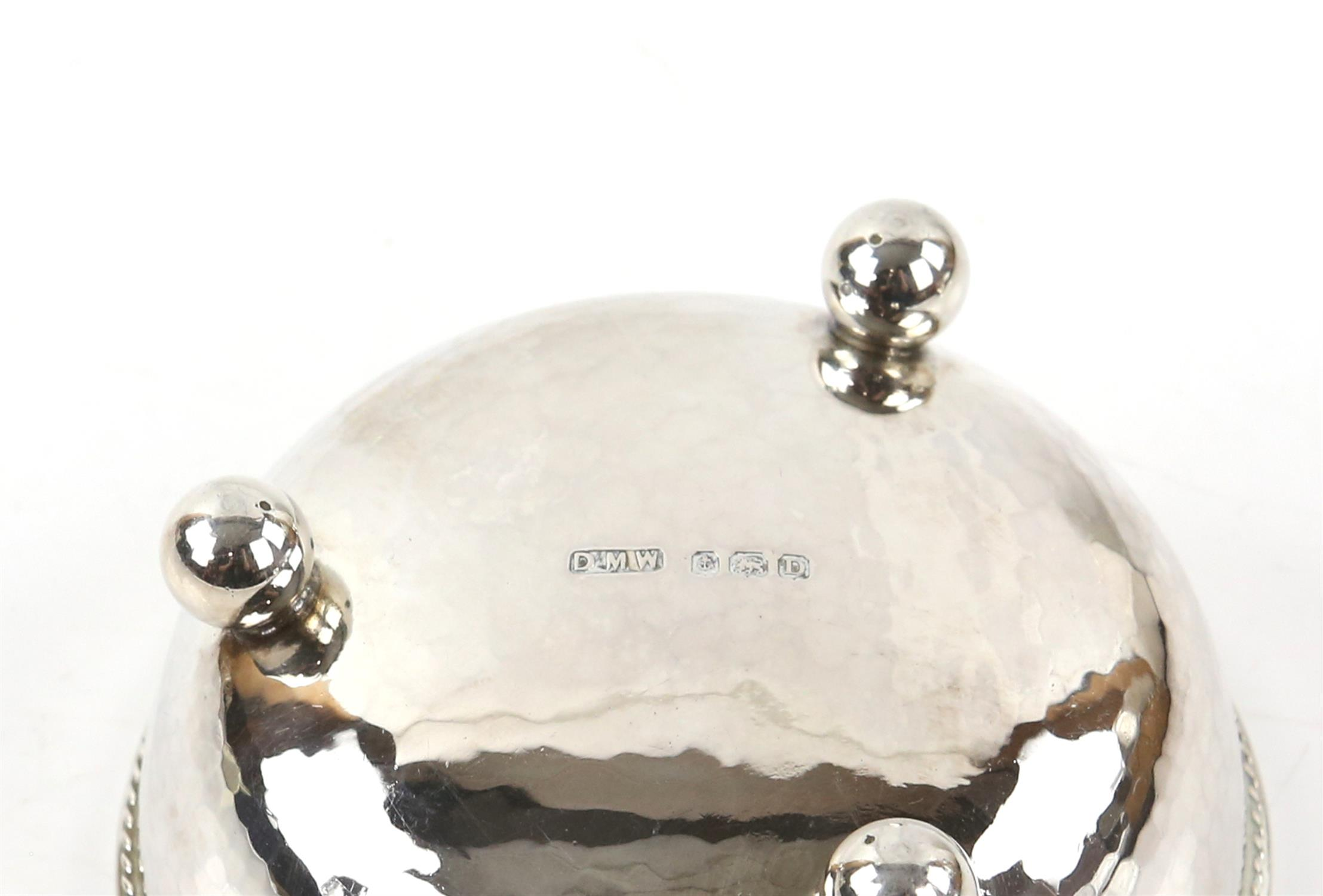 Pair of George V silver bonbon dishes with gadrooned borders, each on three ball feet, - Image 4 of 4