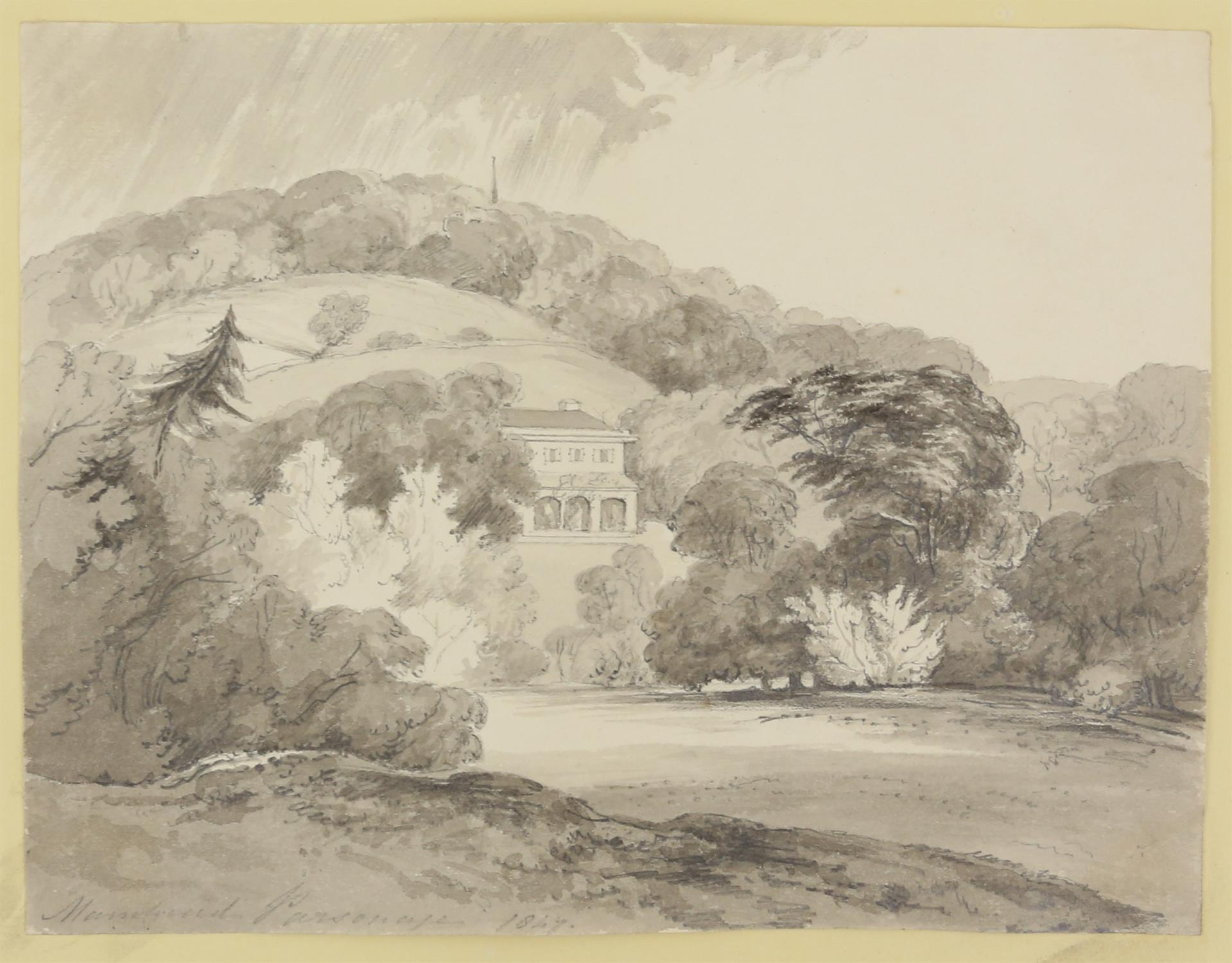 19th century scene with a castle and figures before the moat, sepia wash, 9.5cm x 15. - Image 2 of 8