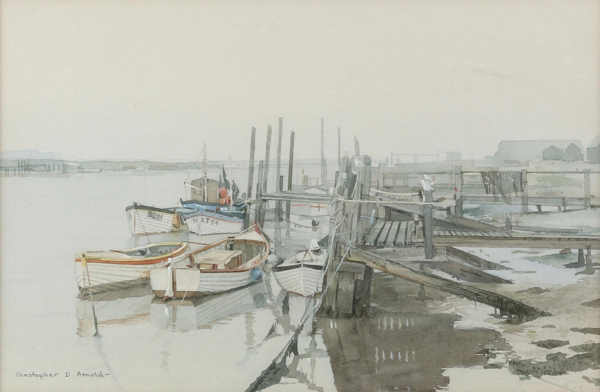 Christopher D Arnold (British, b. 1955), 'Fishing Boats, Southwold, Sussex', signed, watercolour,