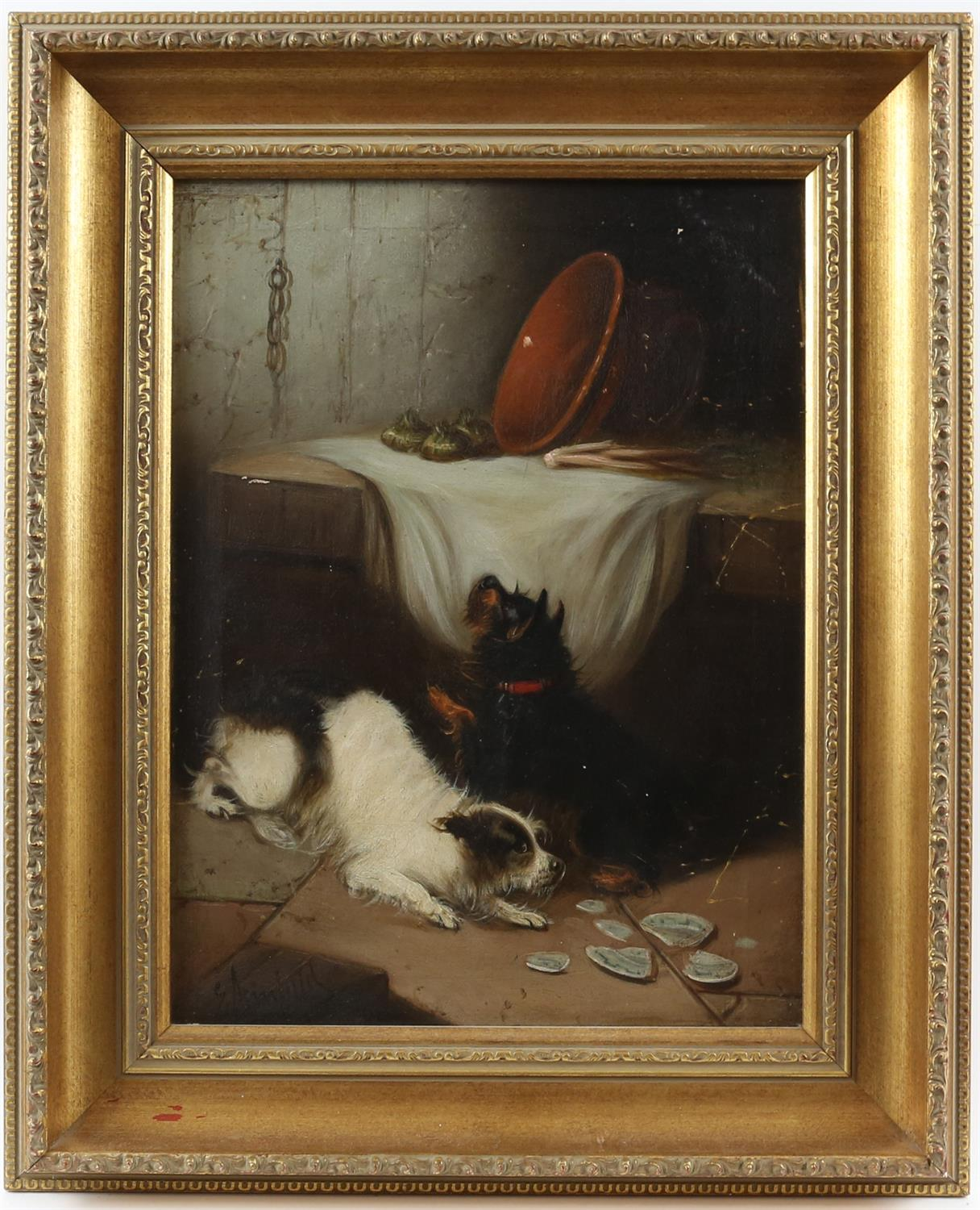 Edward Armfield (British, 1817-1896) 'Waiting for Master'; and 'Terriers Misbehaving', both signed, - Image 3 of 9