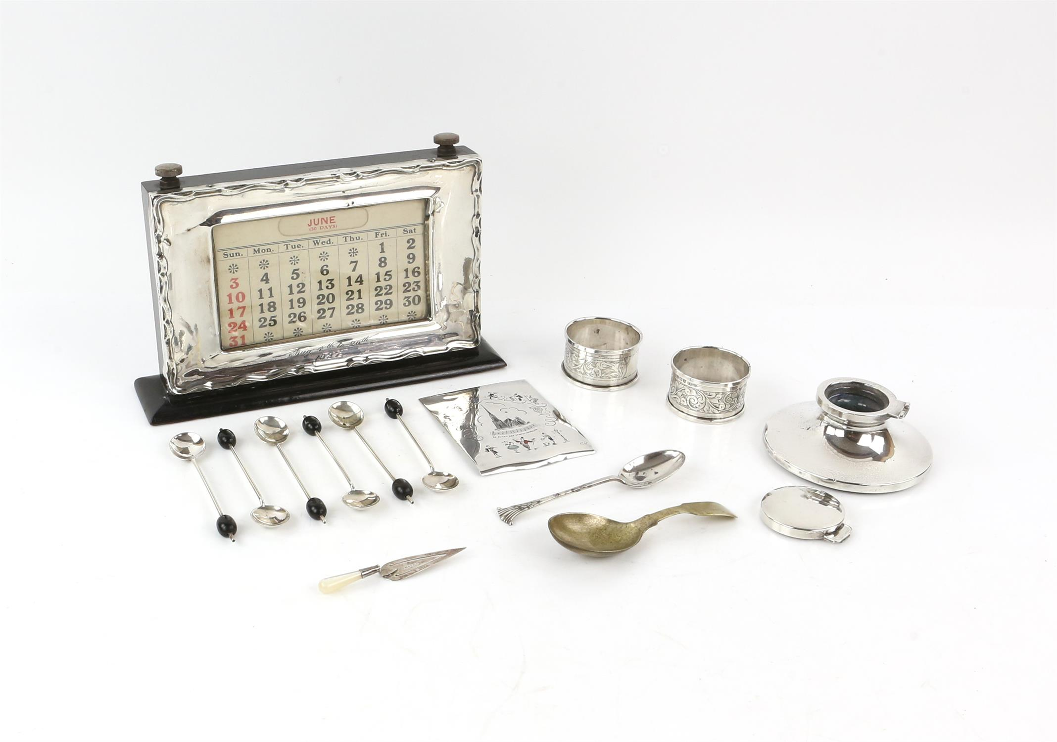 Silver presentation desk calendar, Birmingham 1927, capstan inkwell, page mark, coffee spoons,