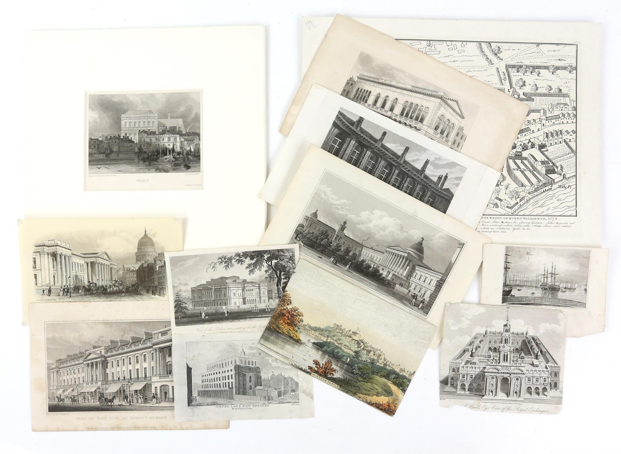 Large quantity of 18th and 19th century topographical engravings. Approx. 200 including 50+ London