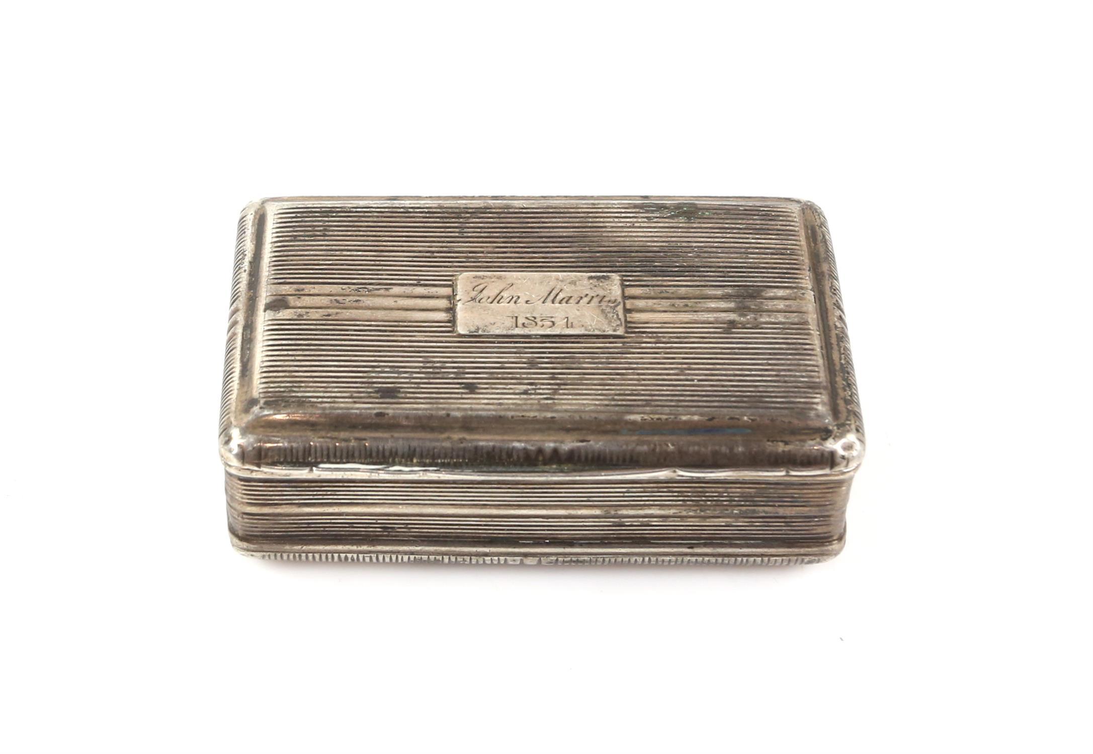 George III silver snuff box by John Shaw, Birmingham 1818, 6.5cm x 4cm x 2cm 2oz 66gm - Image 5 of 5