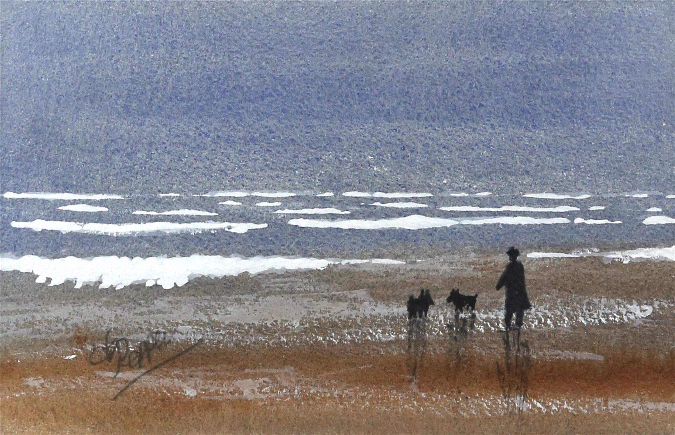 Derek Pepper, British 20th century, dog walk on the beach, signed, watercolour, 13.5cm x 21cm,