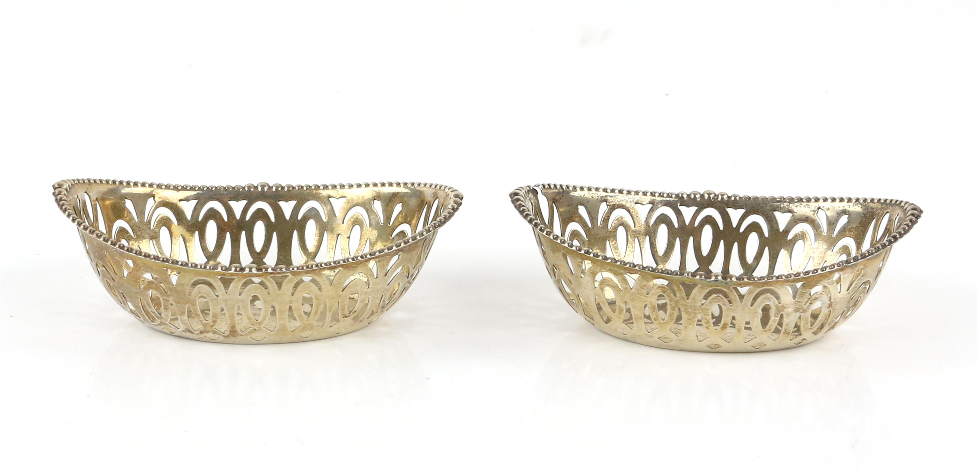 Pair of oval pierced silver bon-bon dishes, by Robert Pringle & Sons London 1927, - Image 7 of 11